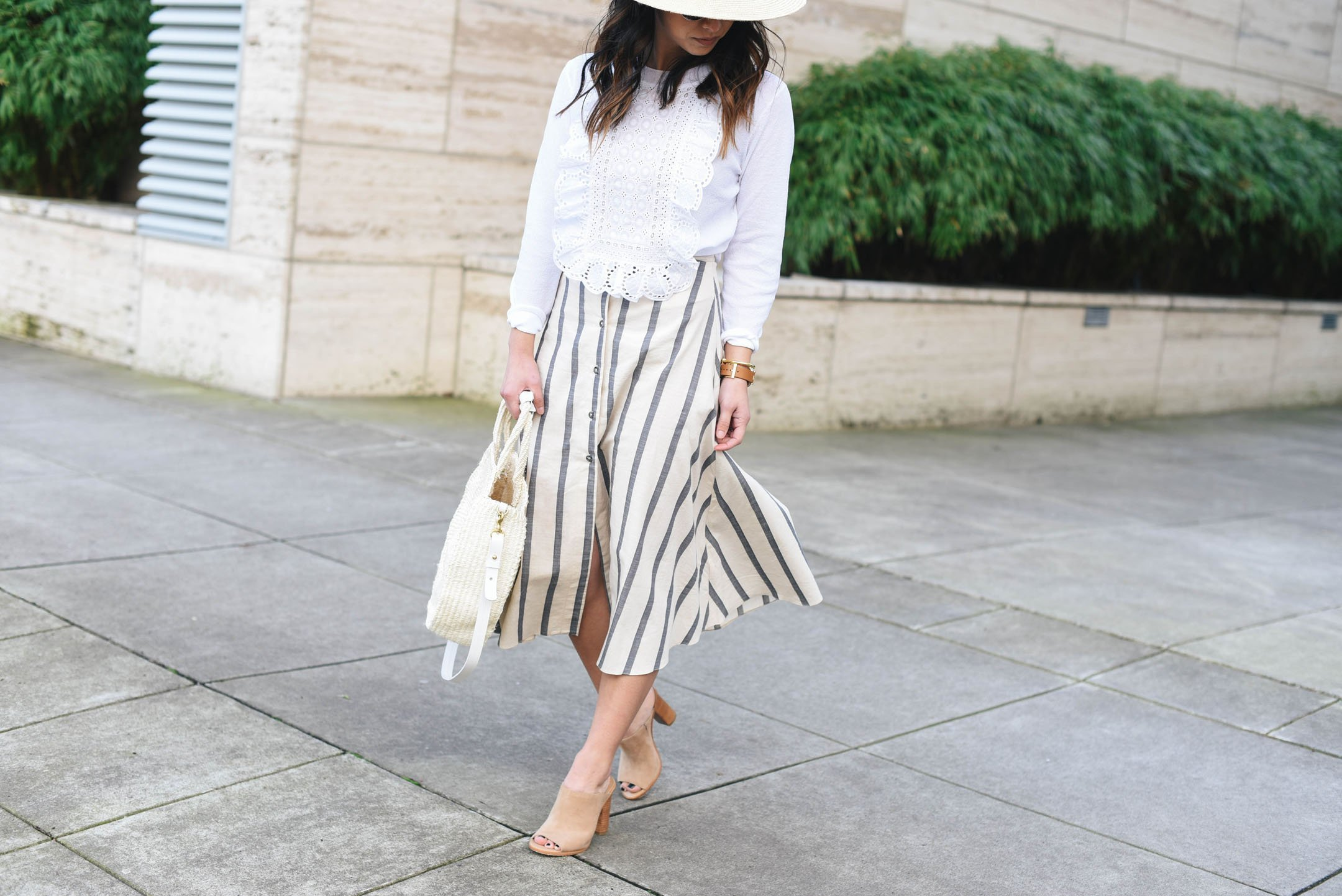 Asos striped midi skirt