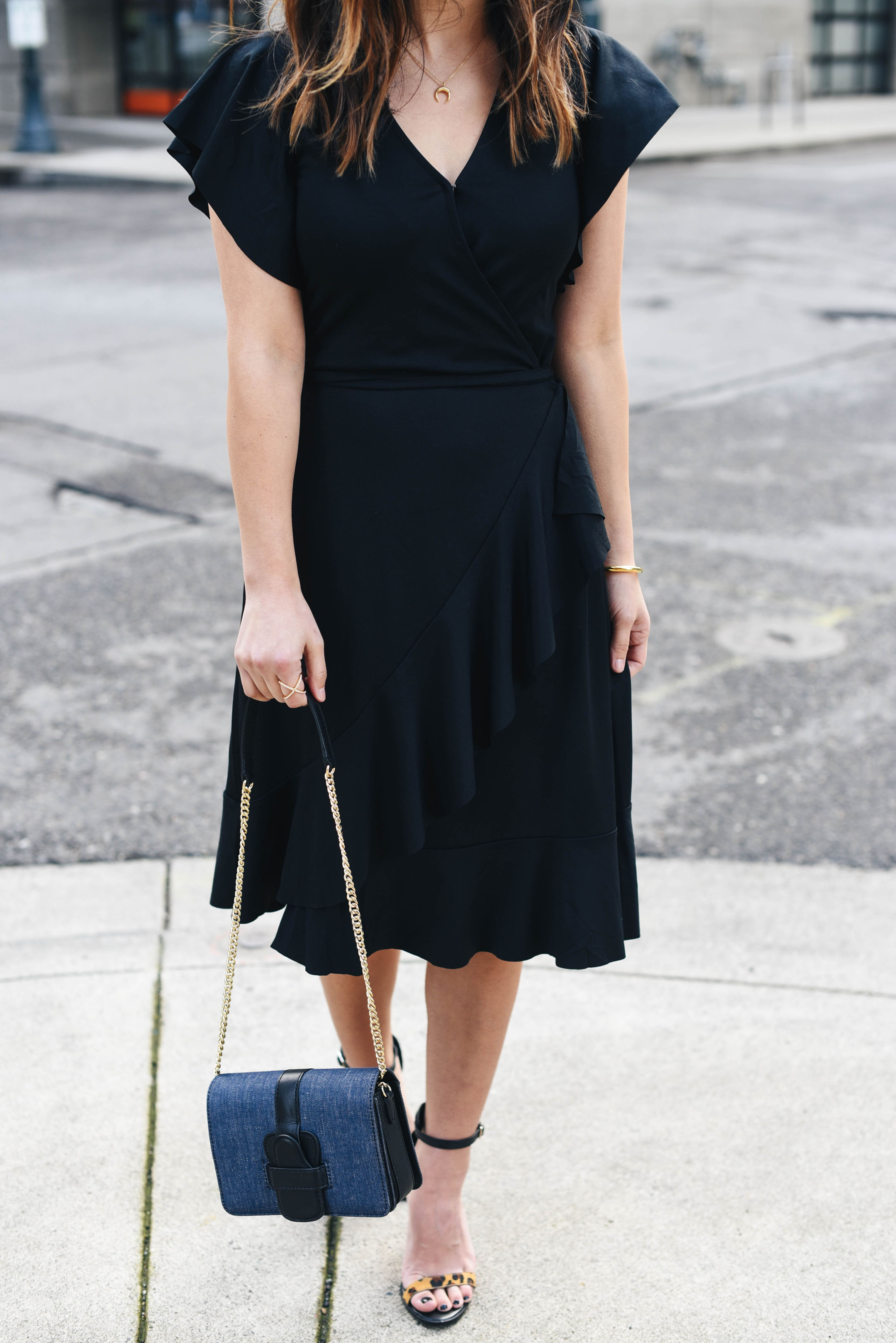 Banana Republic petite black wrap dress