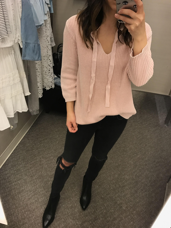 Caslon pink sweater 2