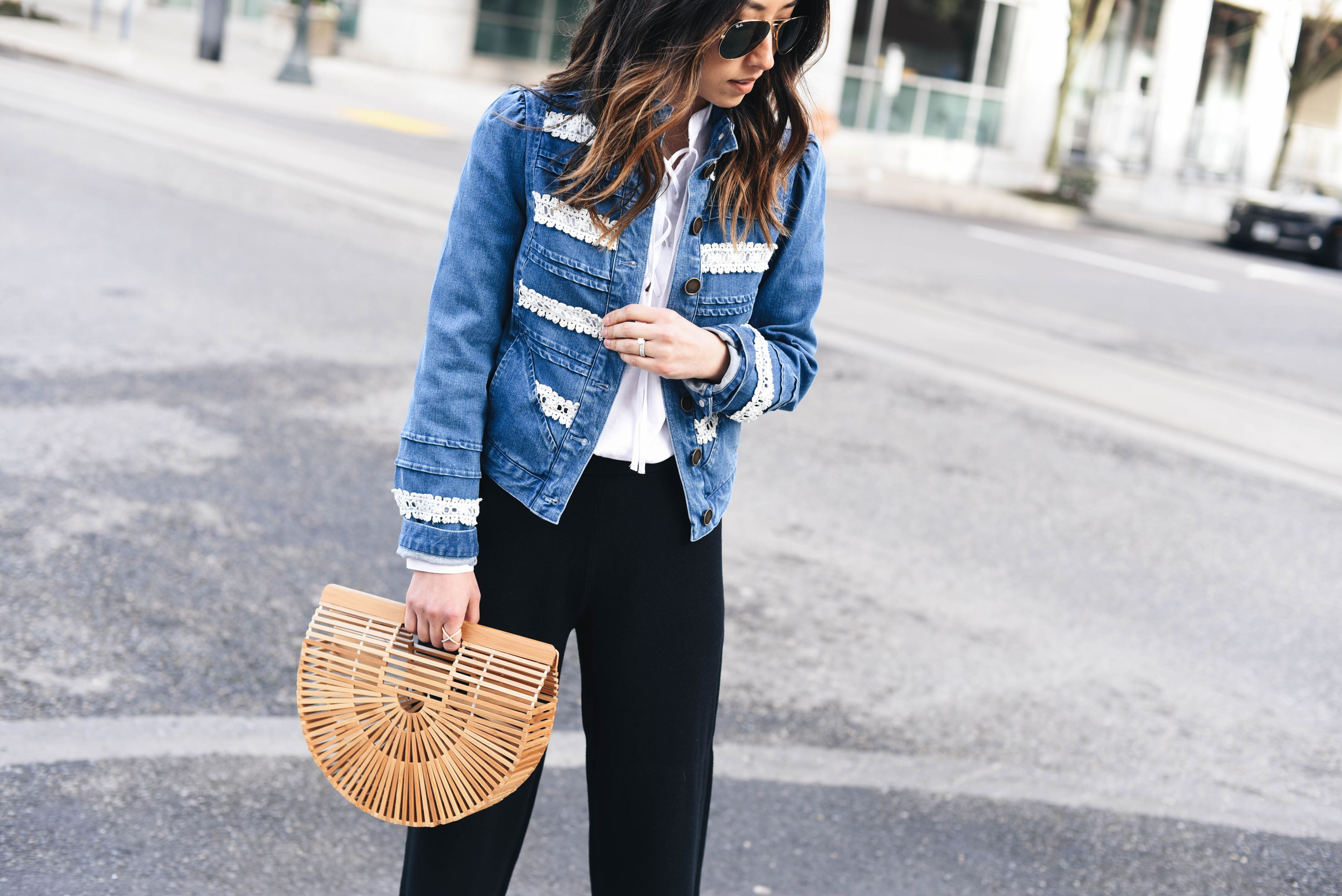 Crystalin Marie styling a denim jacket