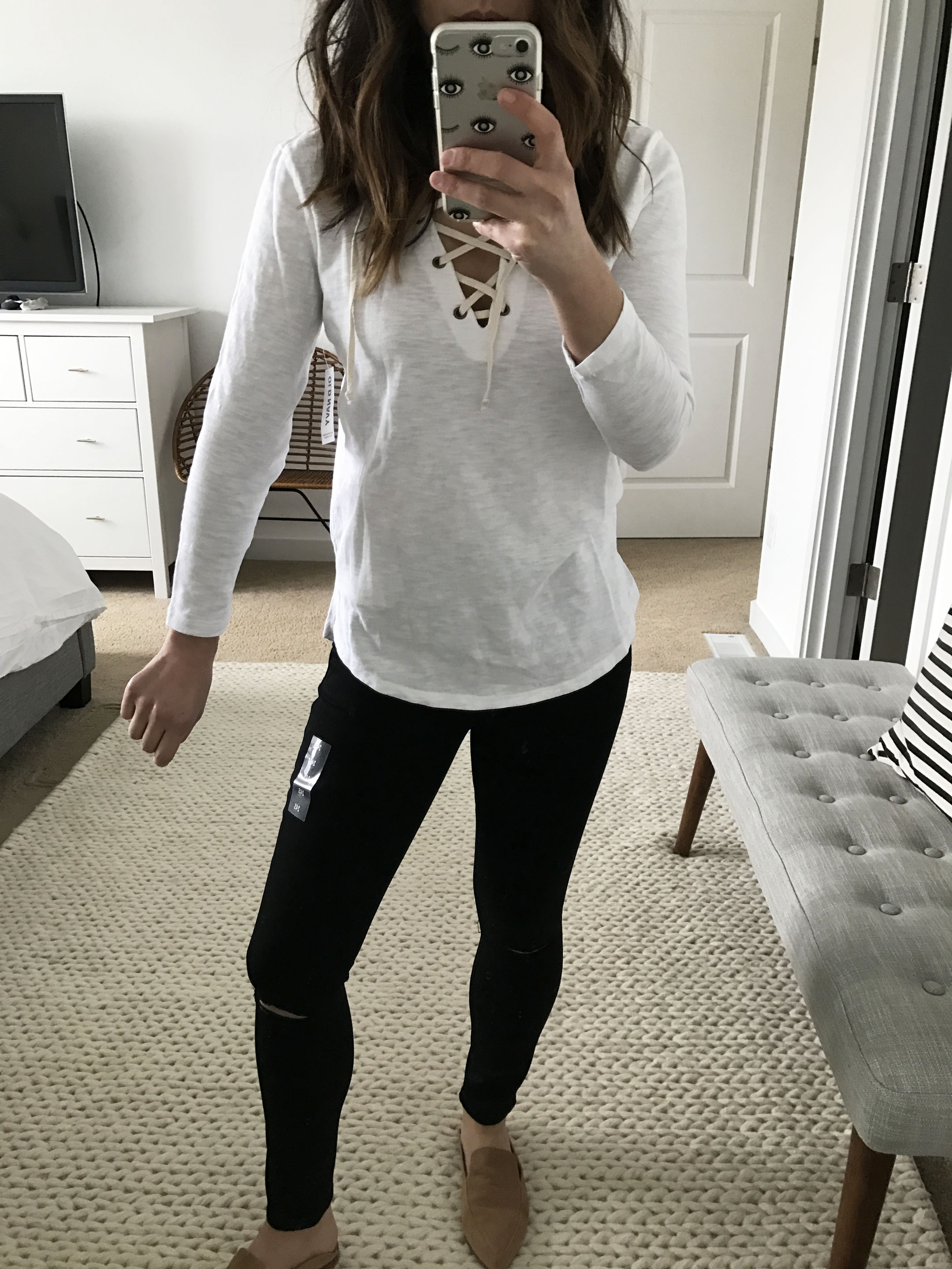Old Navy lace up tee in white 1