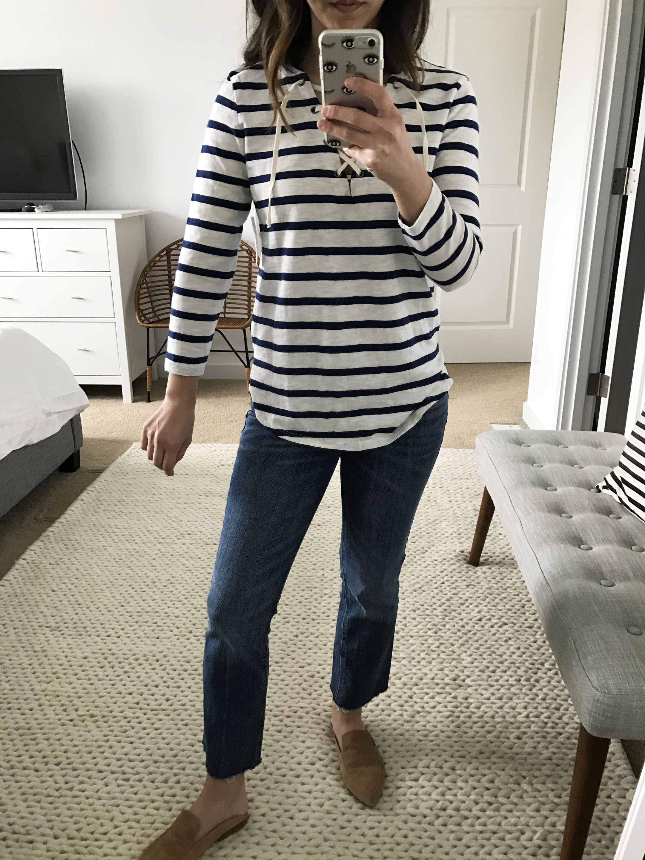 Old Navy striped lace up top 1