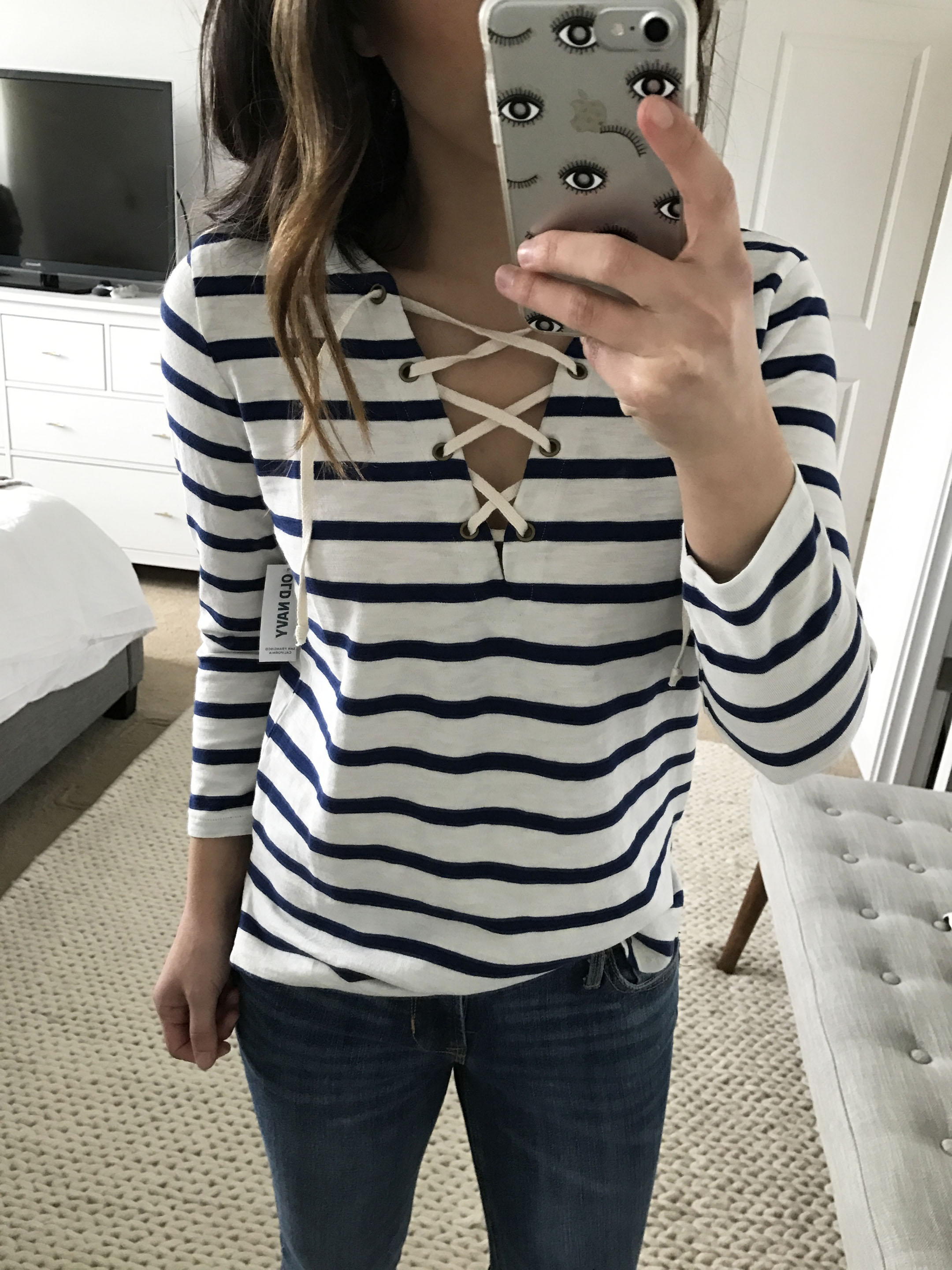 Old Navy striped lace up top 2