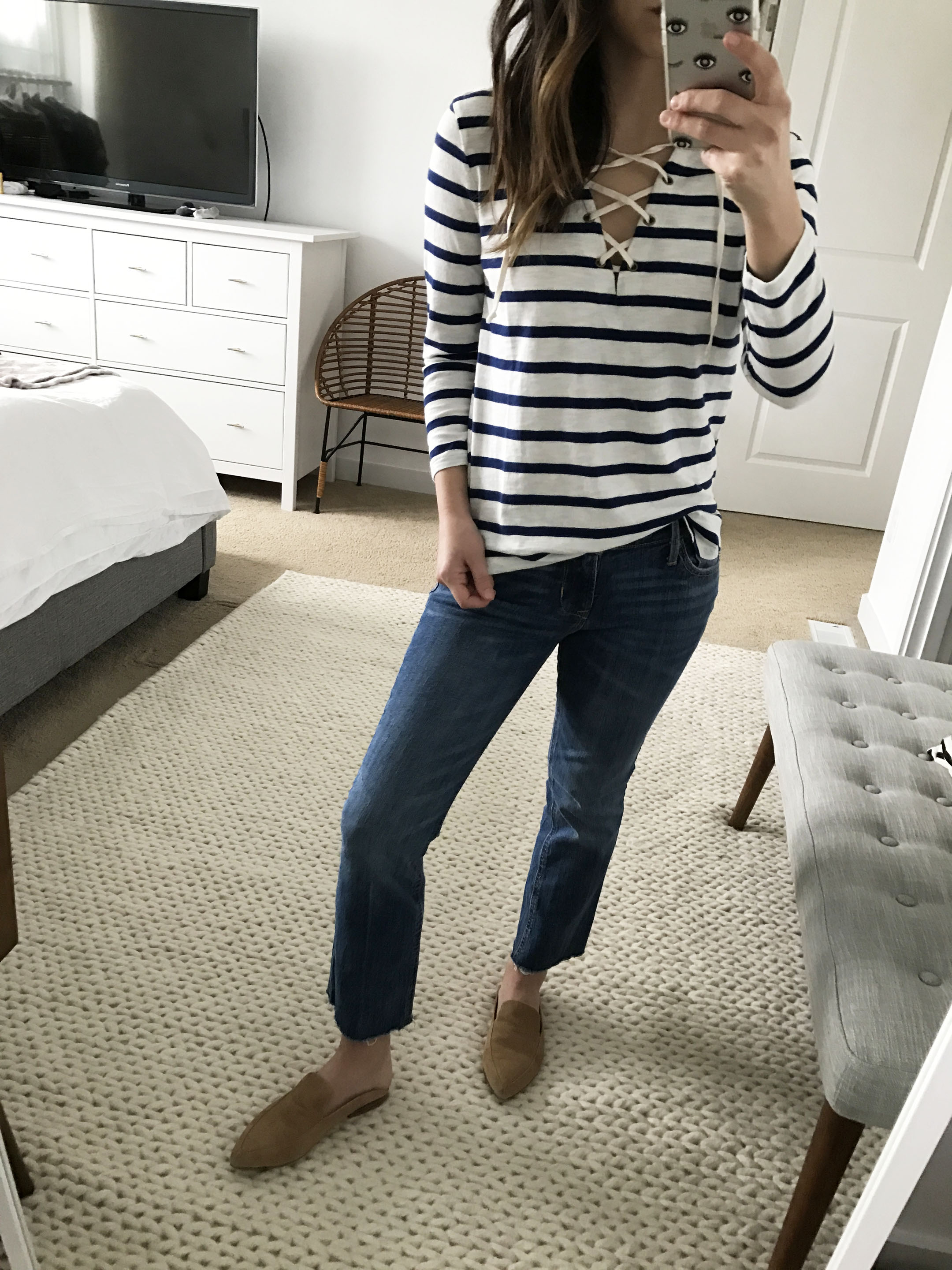 Old Navy striped lace up top 3