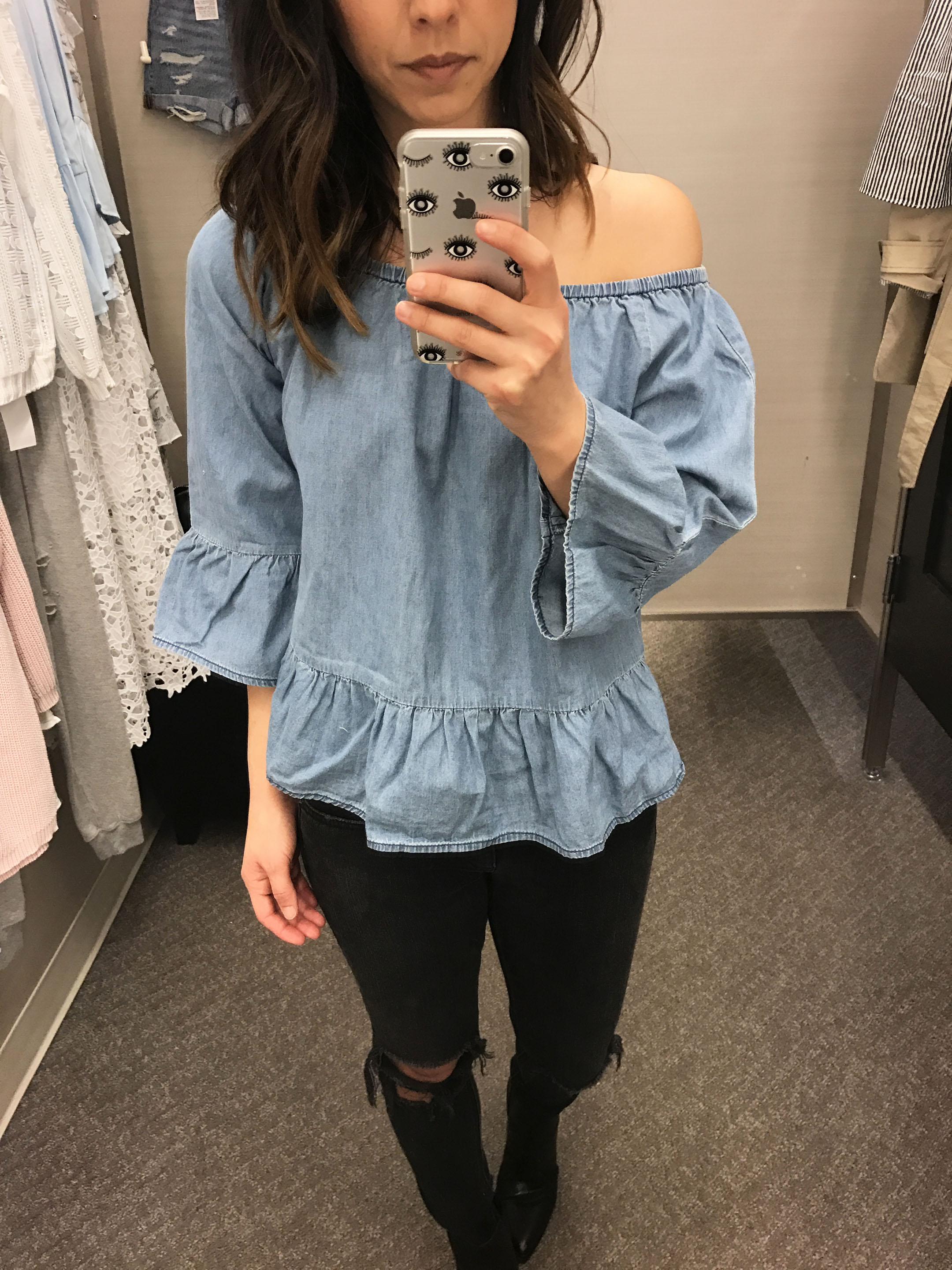 cupcakes and cashmere denim off the shoulder top