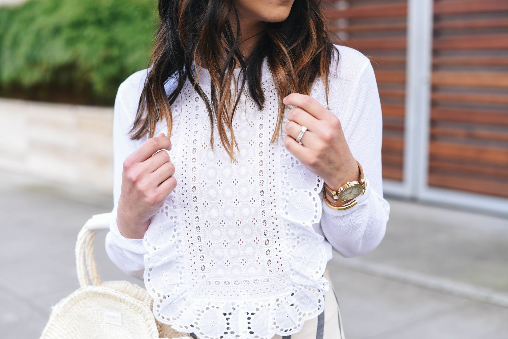 j.Crew embroidered white sweater