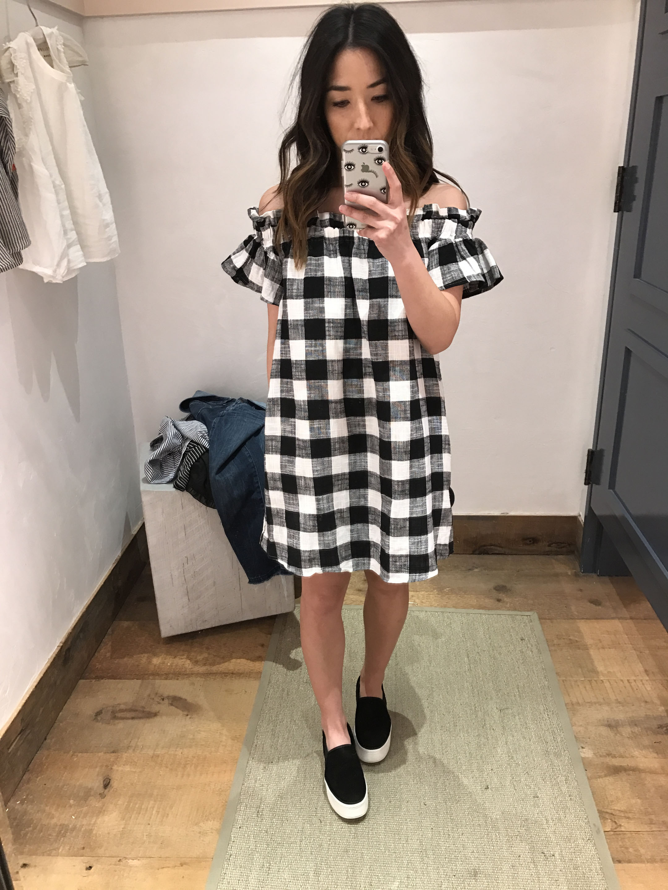 Anthropologie gingham off the shoulder dress 1