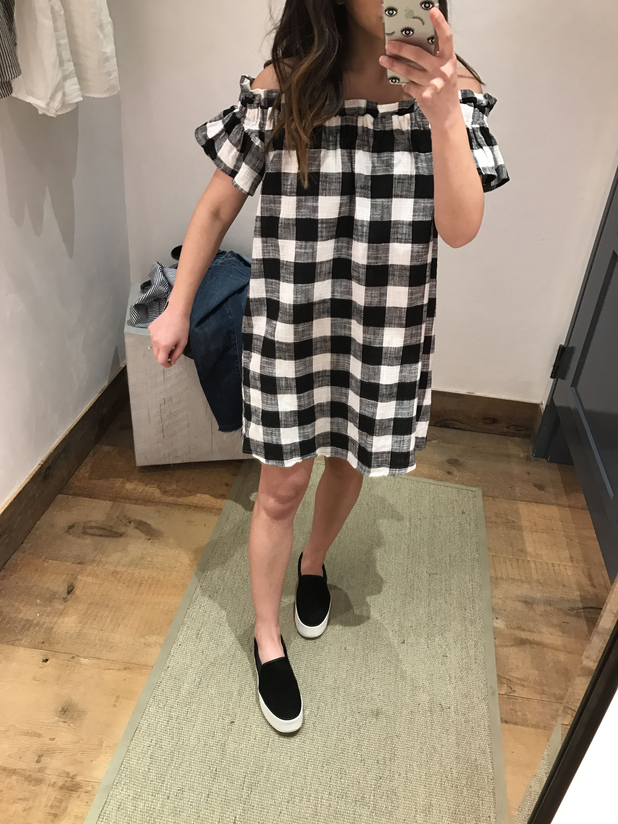 Anthropologie gingham off the shoulder dress 3