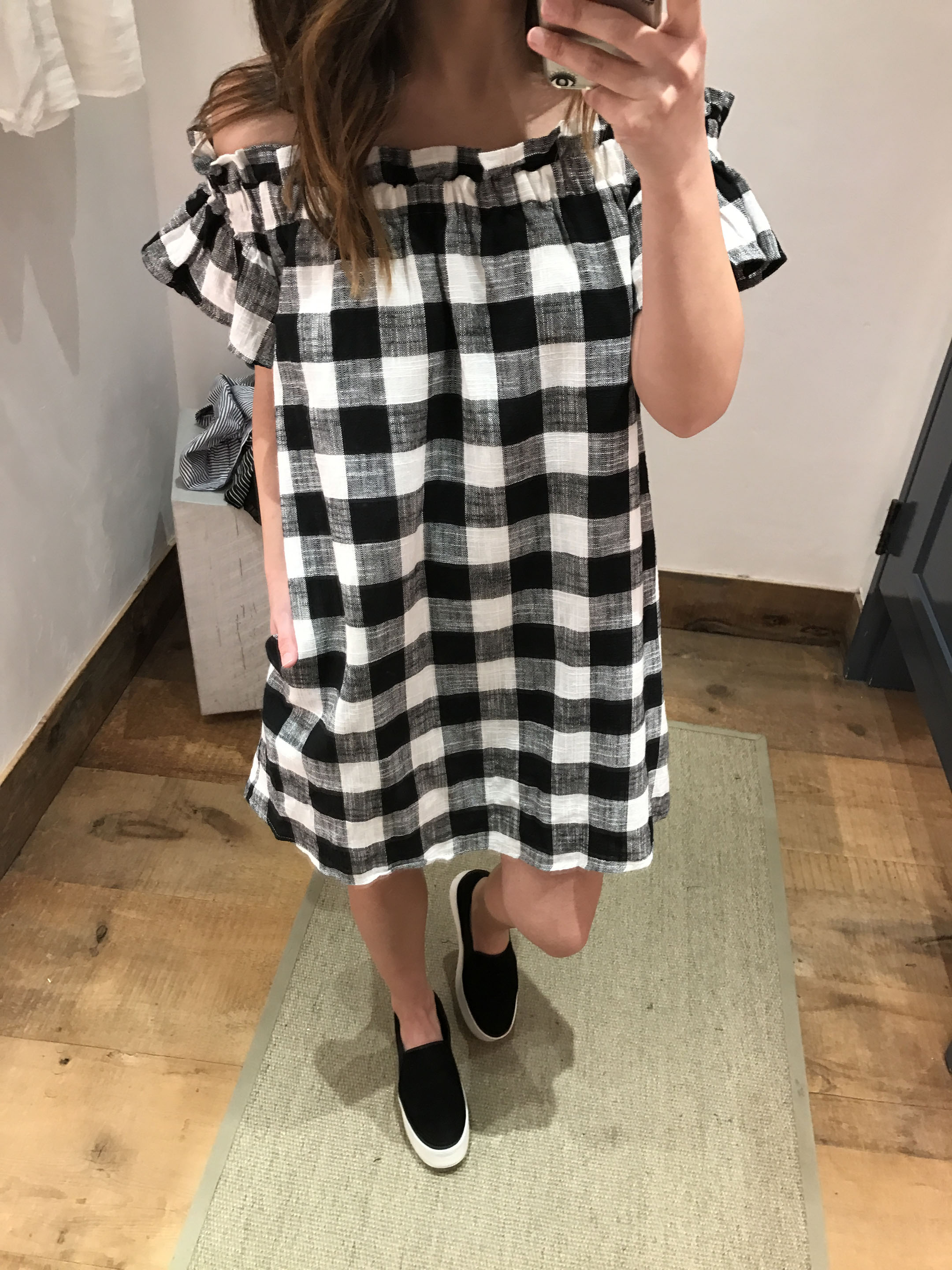 Anthropologie gingham off the shoulder dress 4