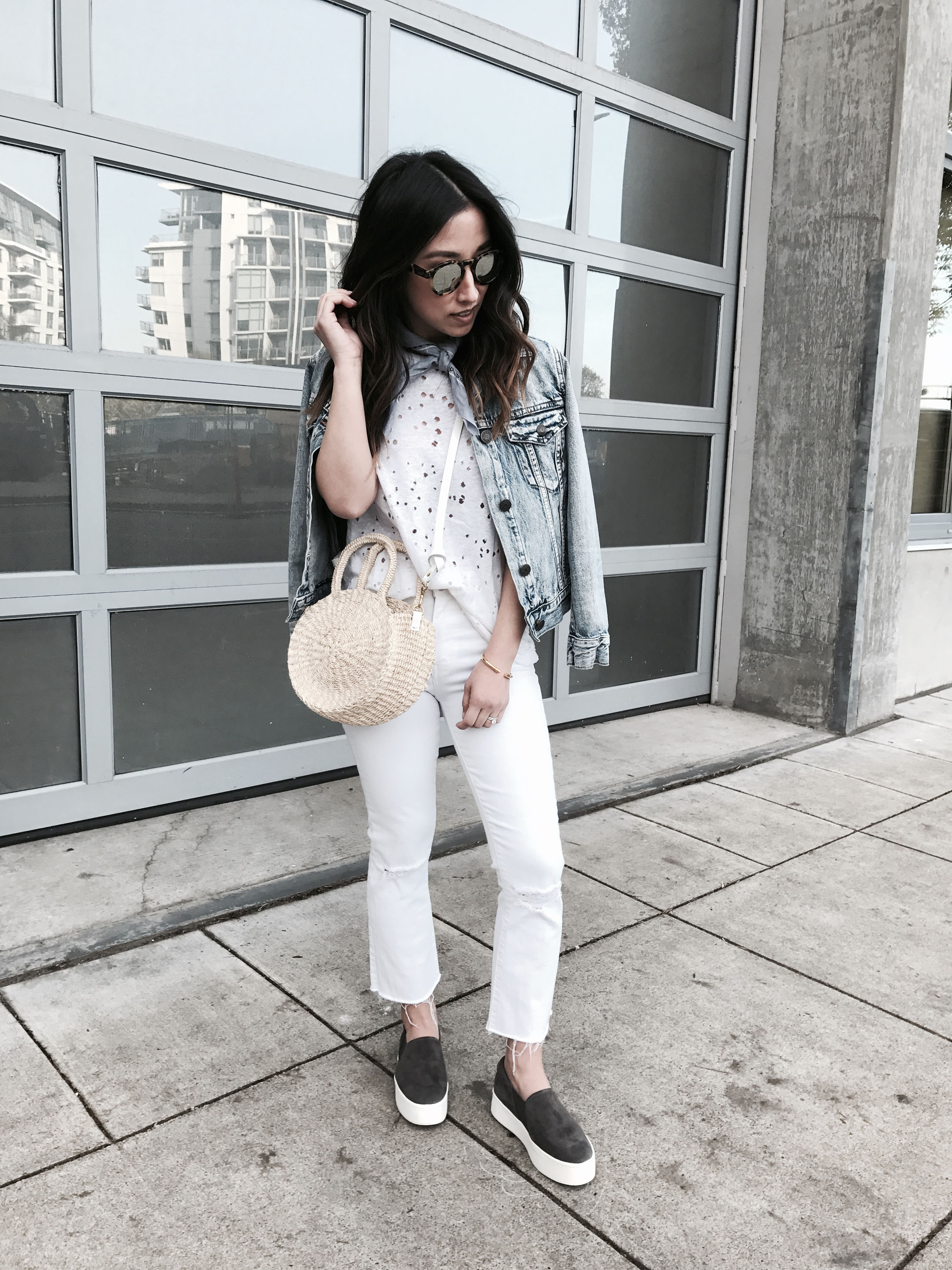 Crystalin Marie wearing gray Vince platform sneakers