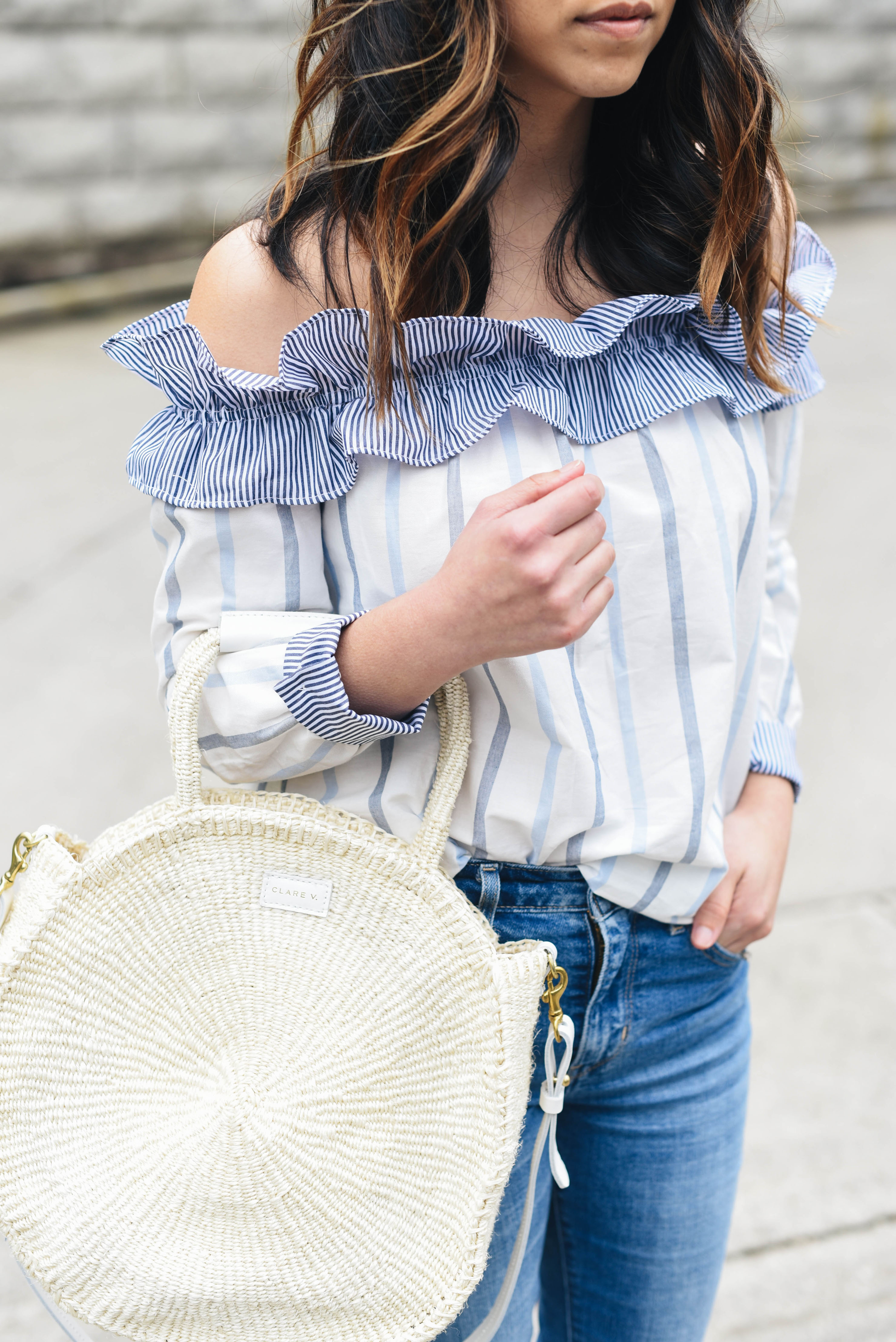 English Factory ruffle off the shoulder top