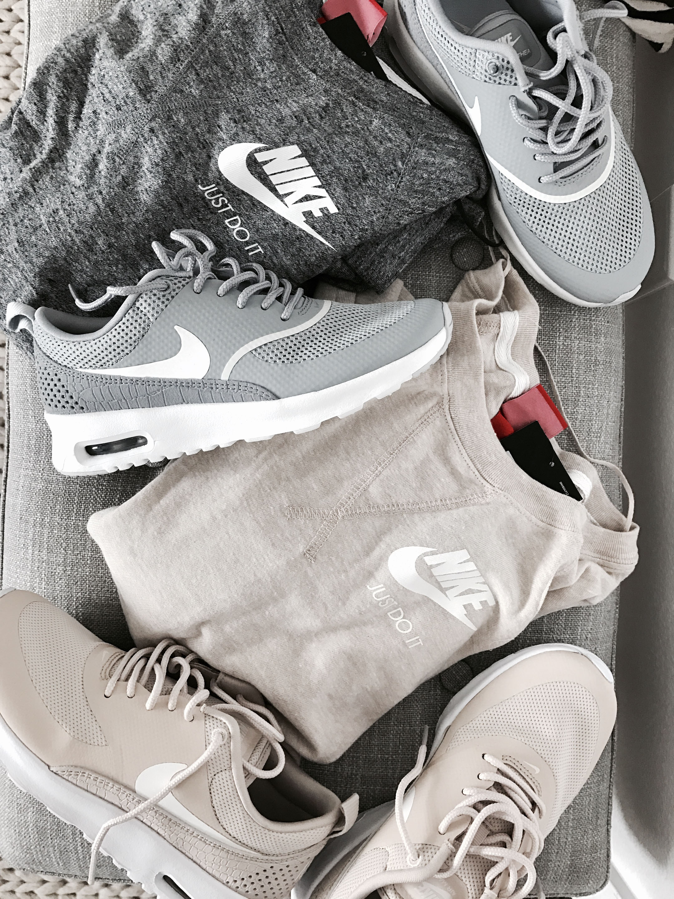 Gray and nude nike thea sneakers