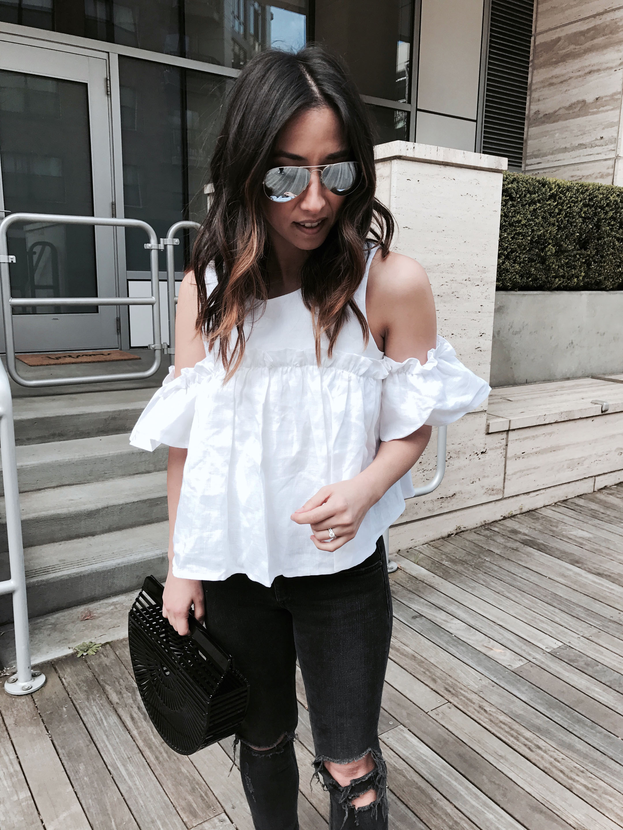 JOA layered ruffle cold shoulder top 2