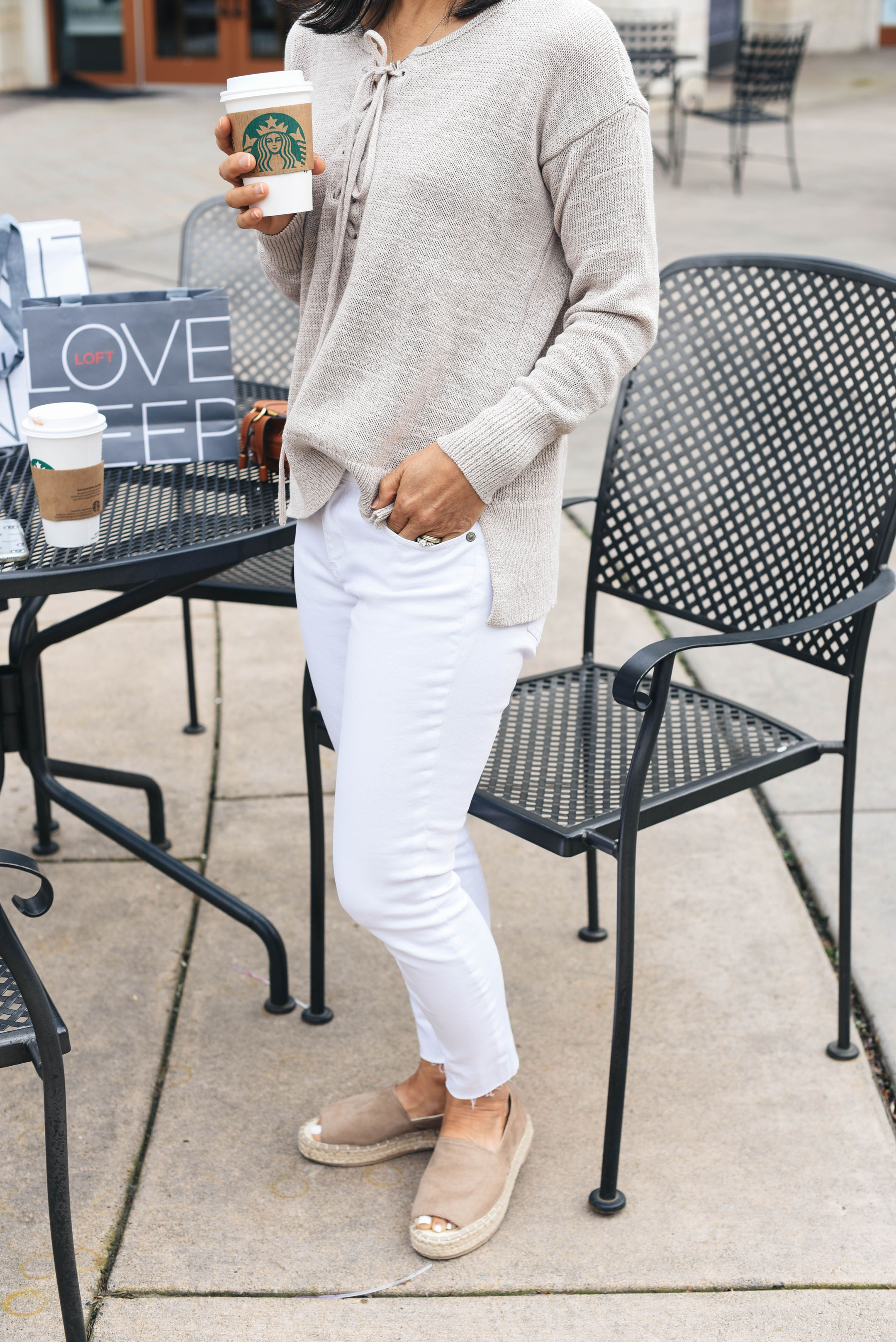 Loft oatmeal laceup sweater