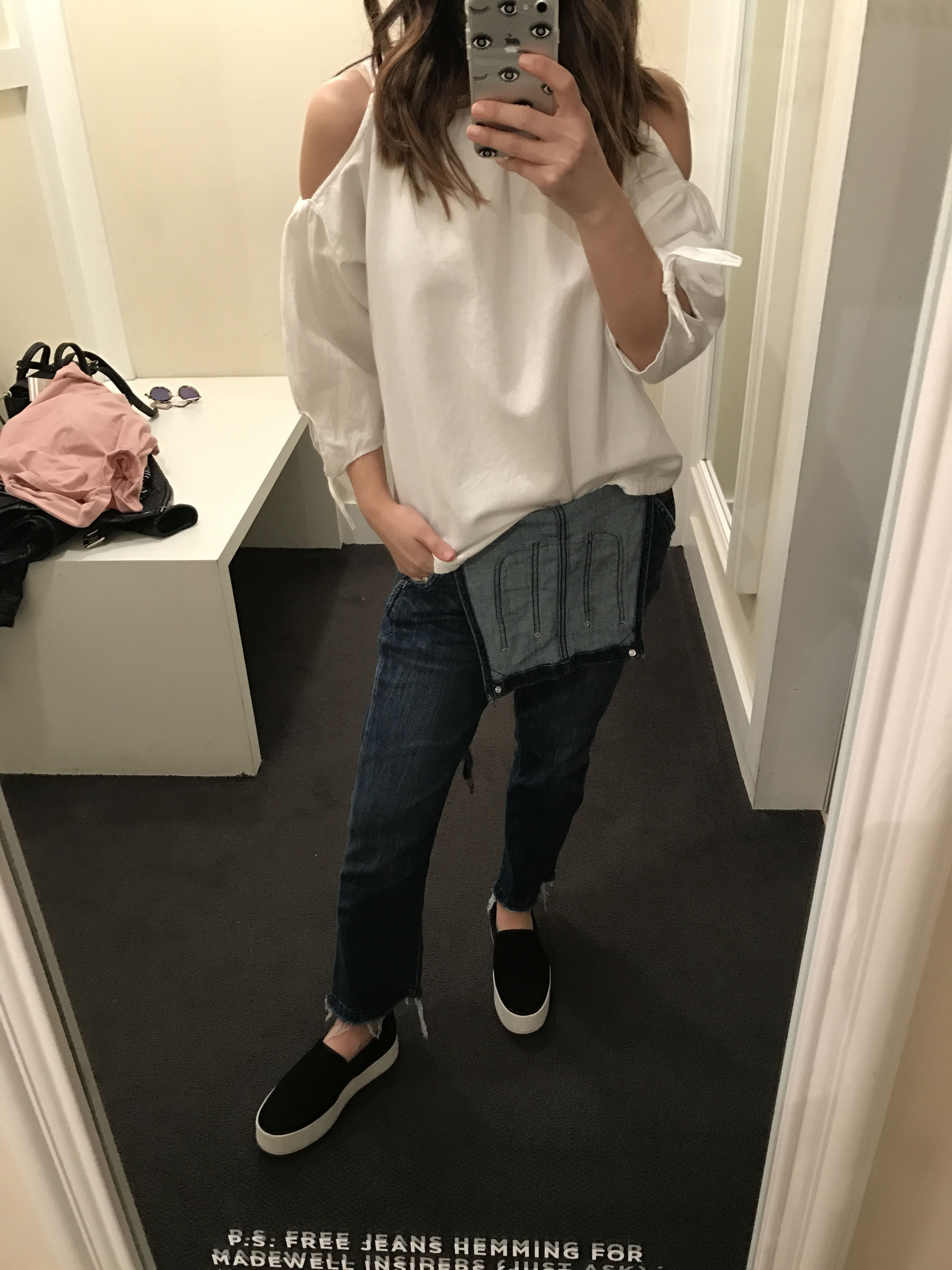 Madewell cold-shoulder top in white 1