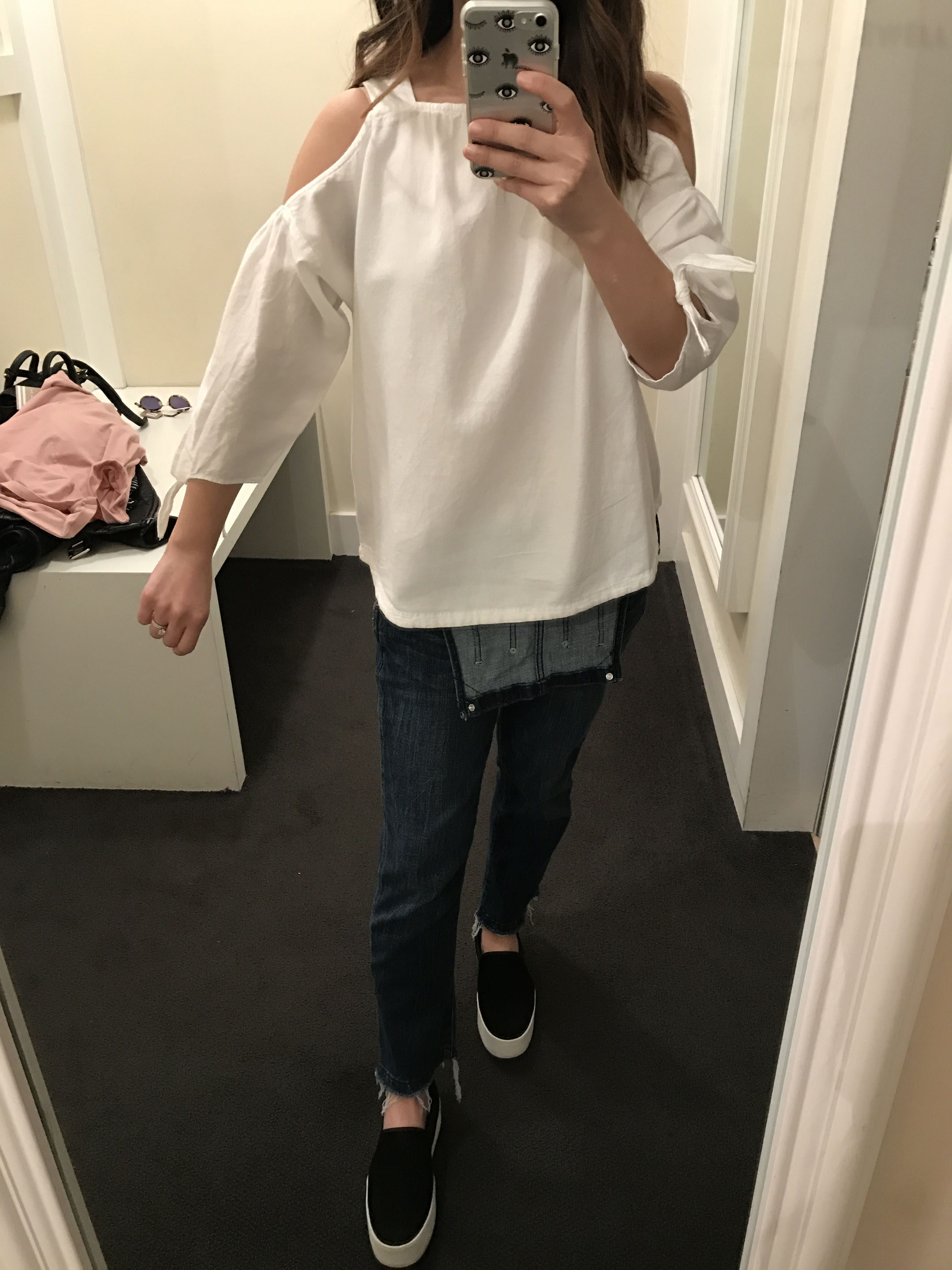 Madewell cold-shoulder top in white 3