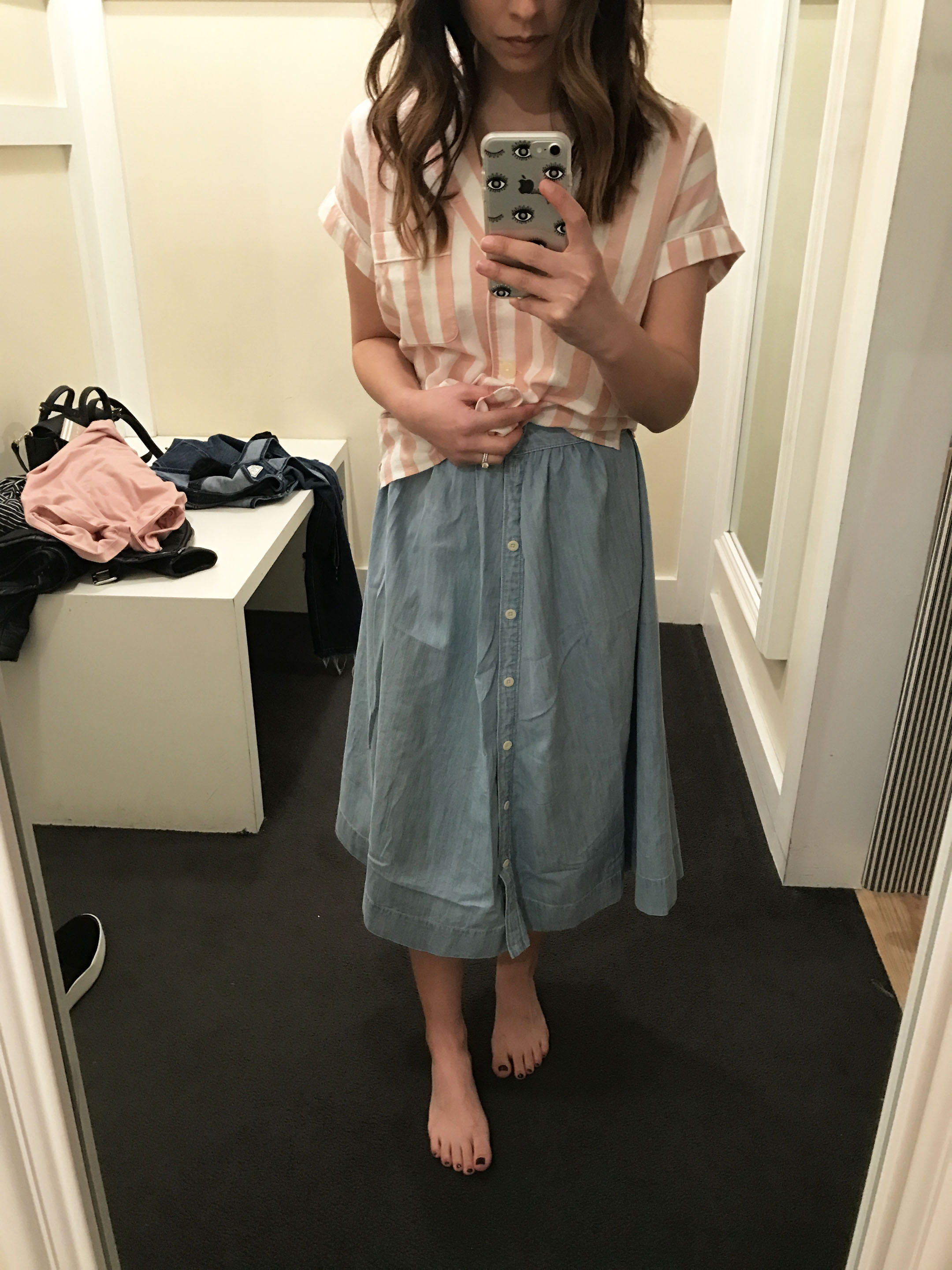 Madewell indigo side-button skirt 3