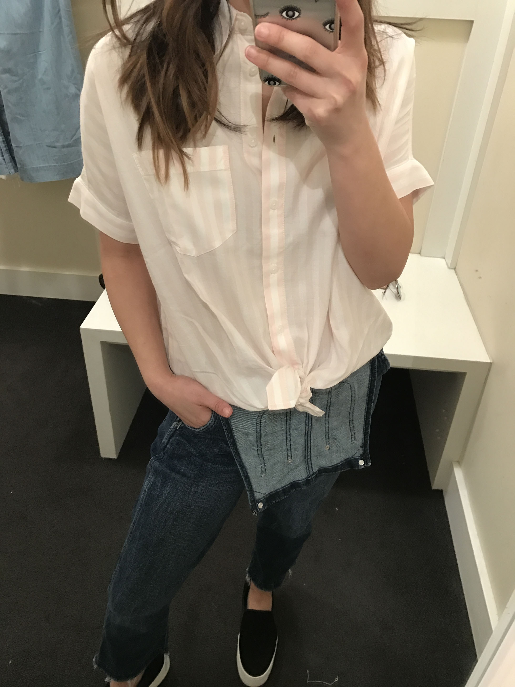 Madewell short-sleeved tie-front shirt in pink stripe 4
