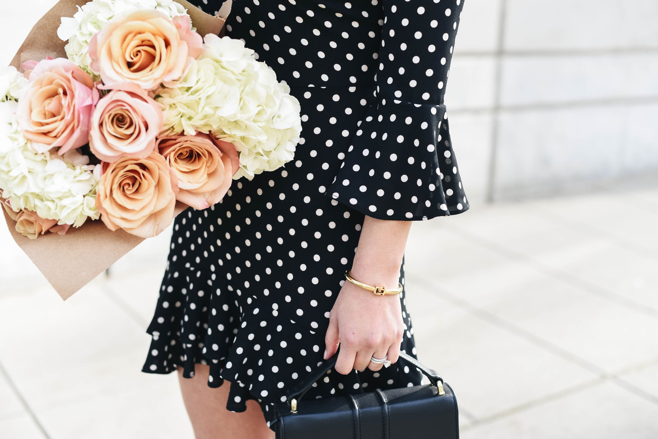 Polka dot off the shoulder dress