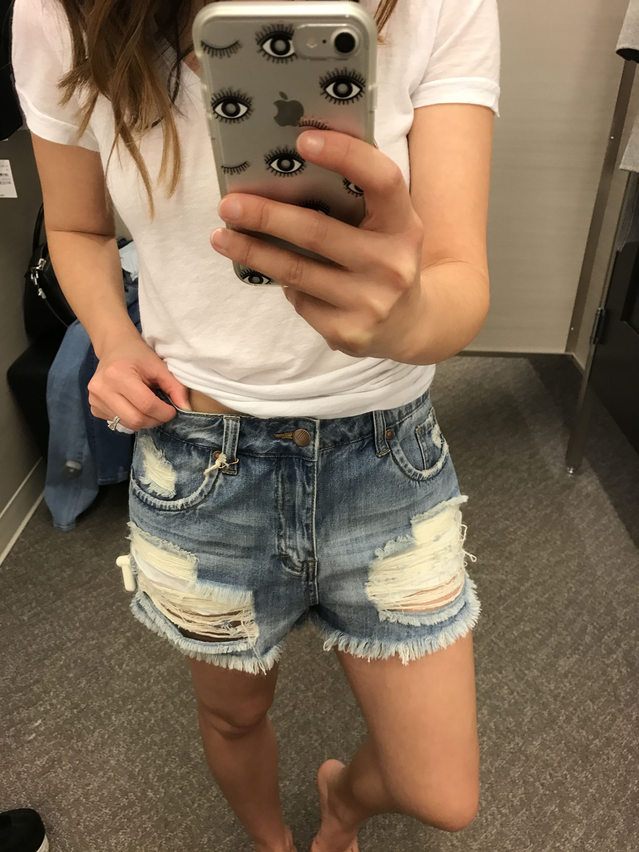 Sun & Shadow ripped high rise denim shorts 3