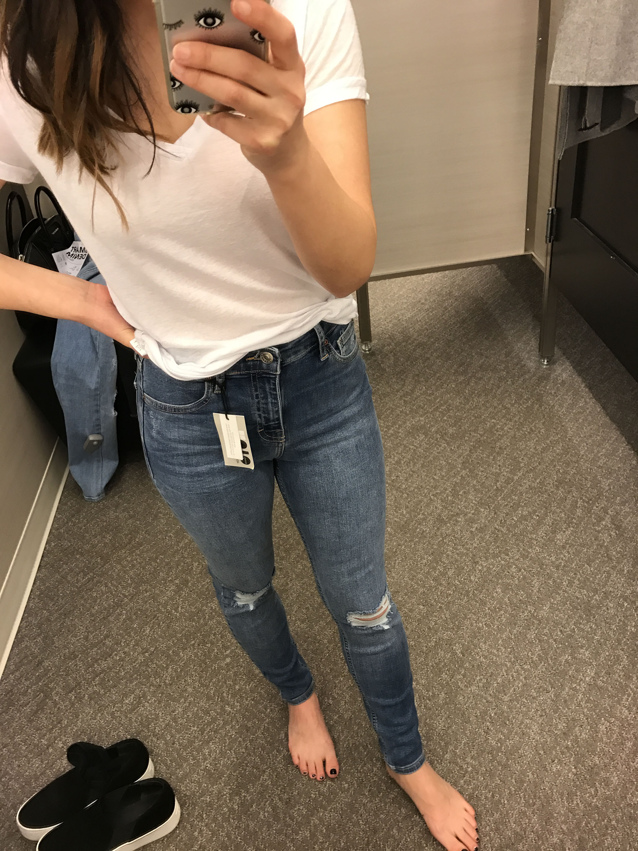 Topshop moto jamie ripped high waist ankle skinny jean 7