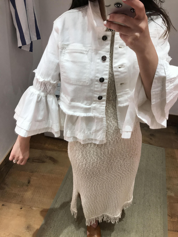 Anthropologie white denim jacket 1