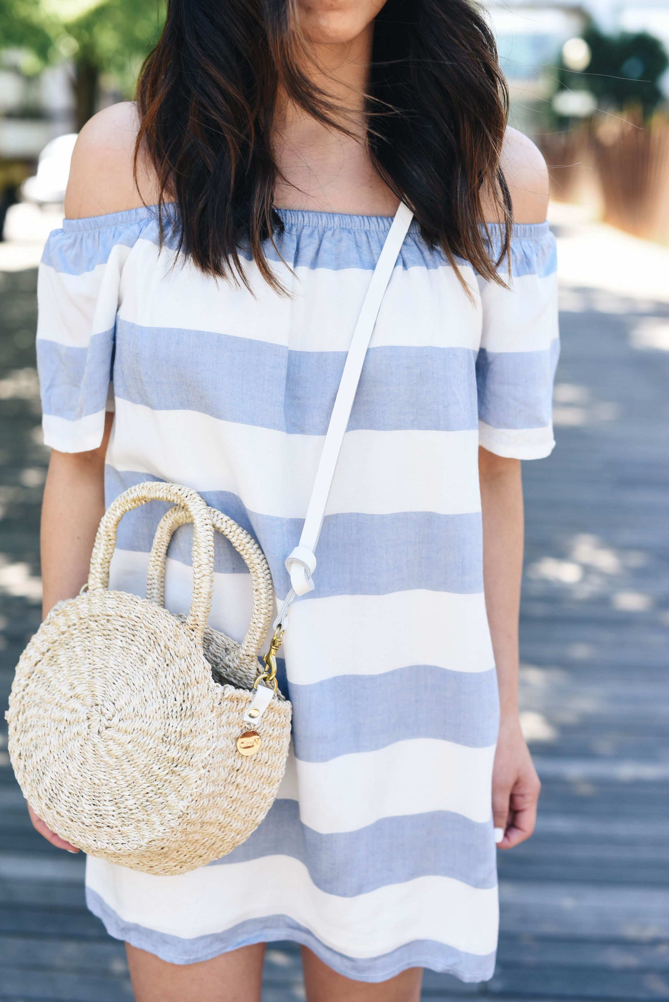 BB Dakota beige and blue striped off the shoulder top