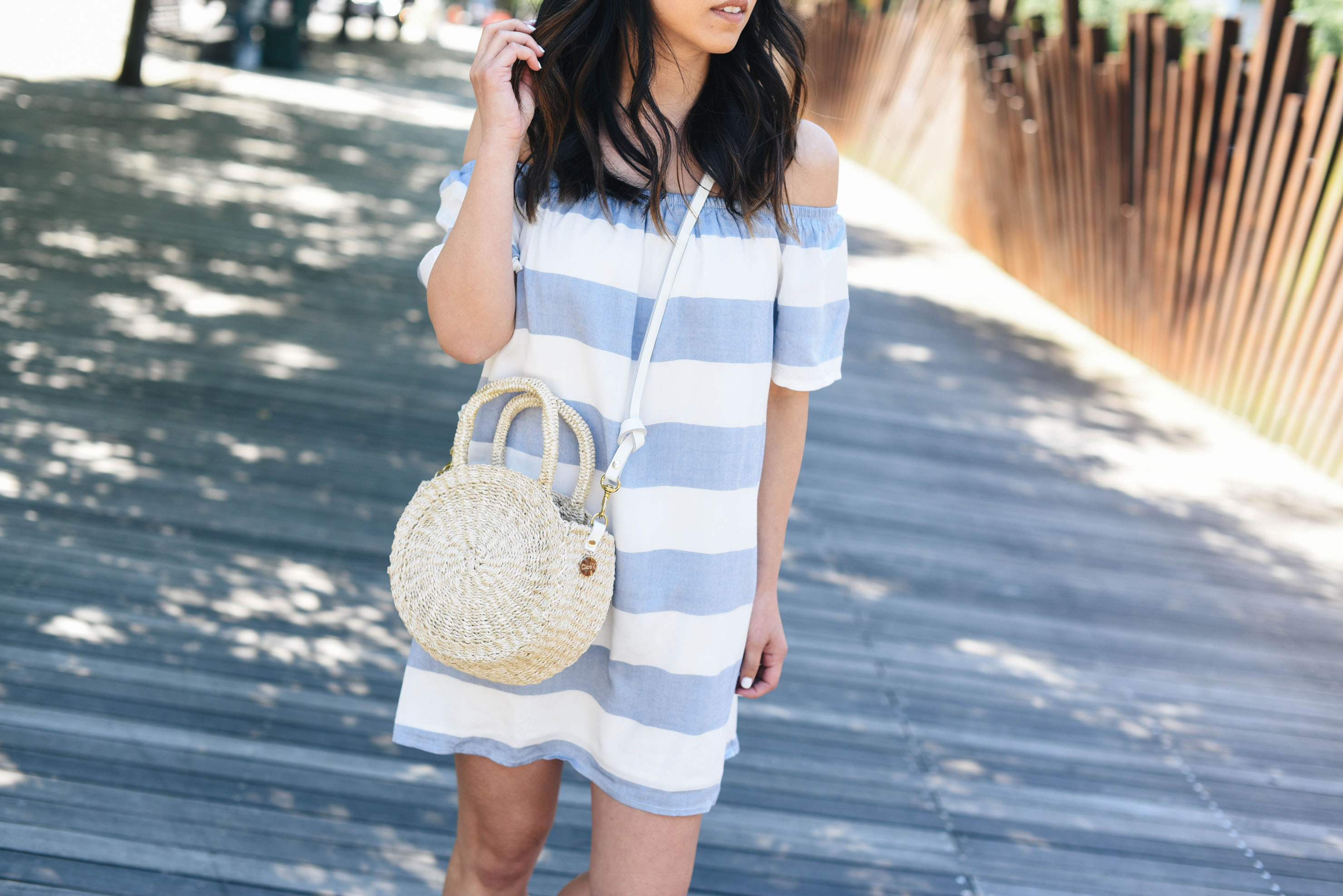 BB Dakota off the shoulder shift dress