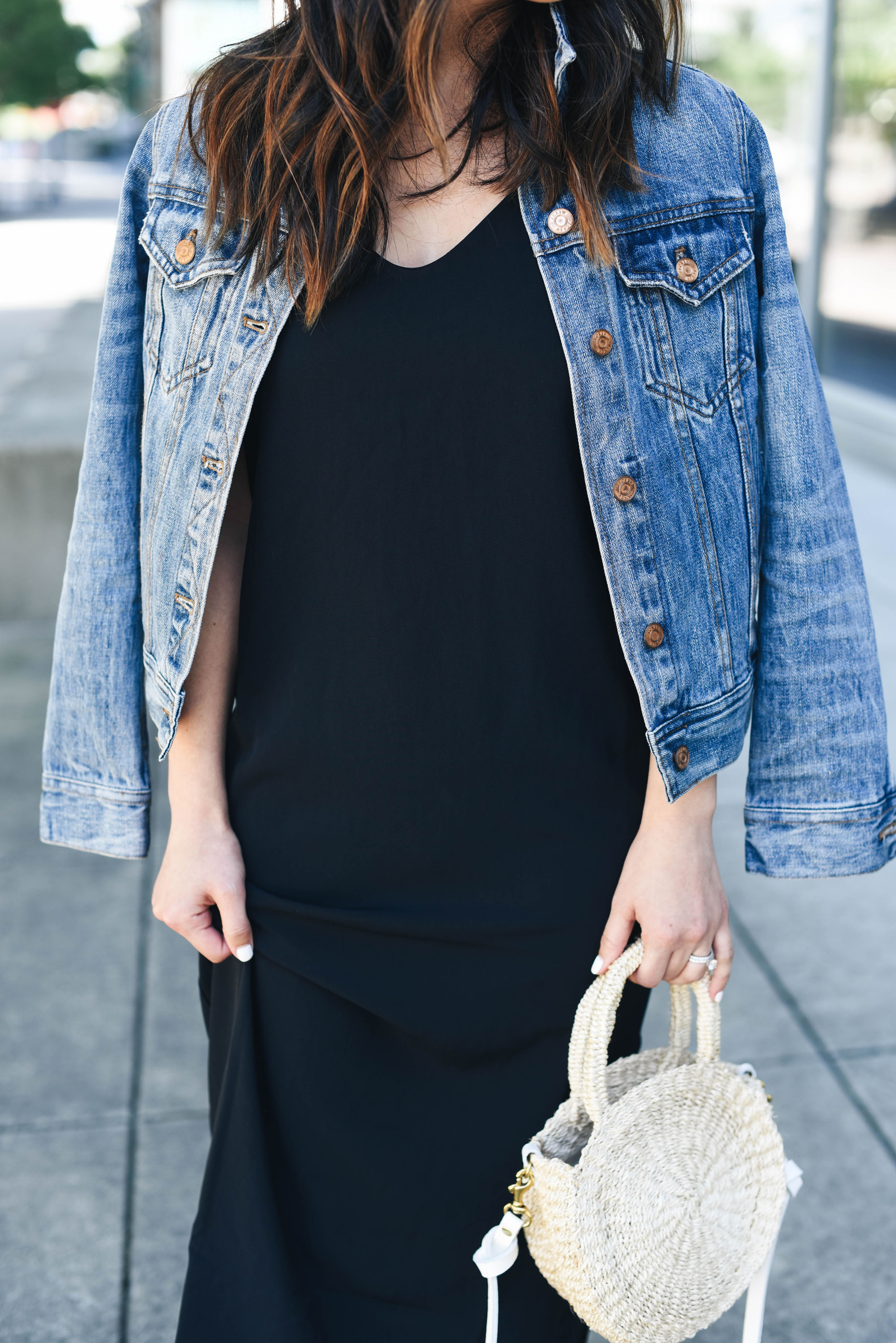 Everlane black slip dress
