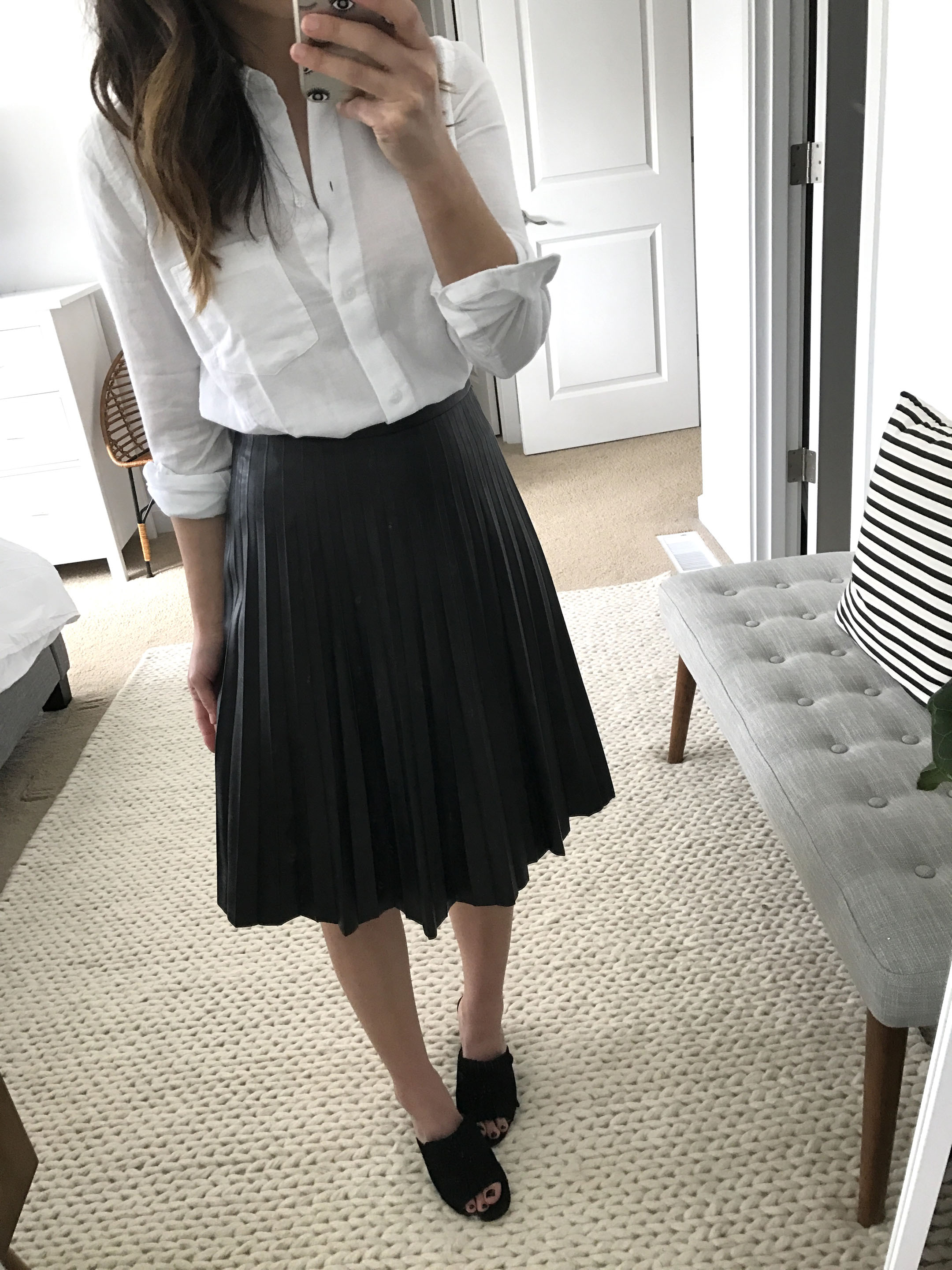 J.Crew Faux Leather Pleated midi skirt 1