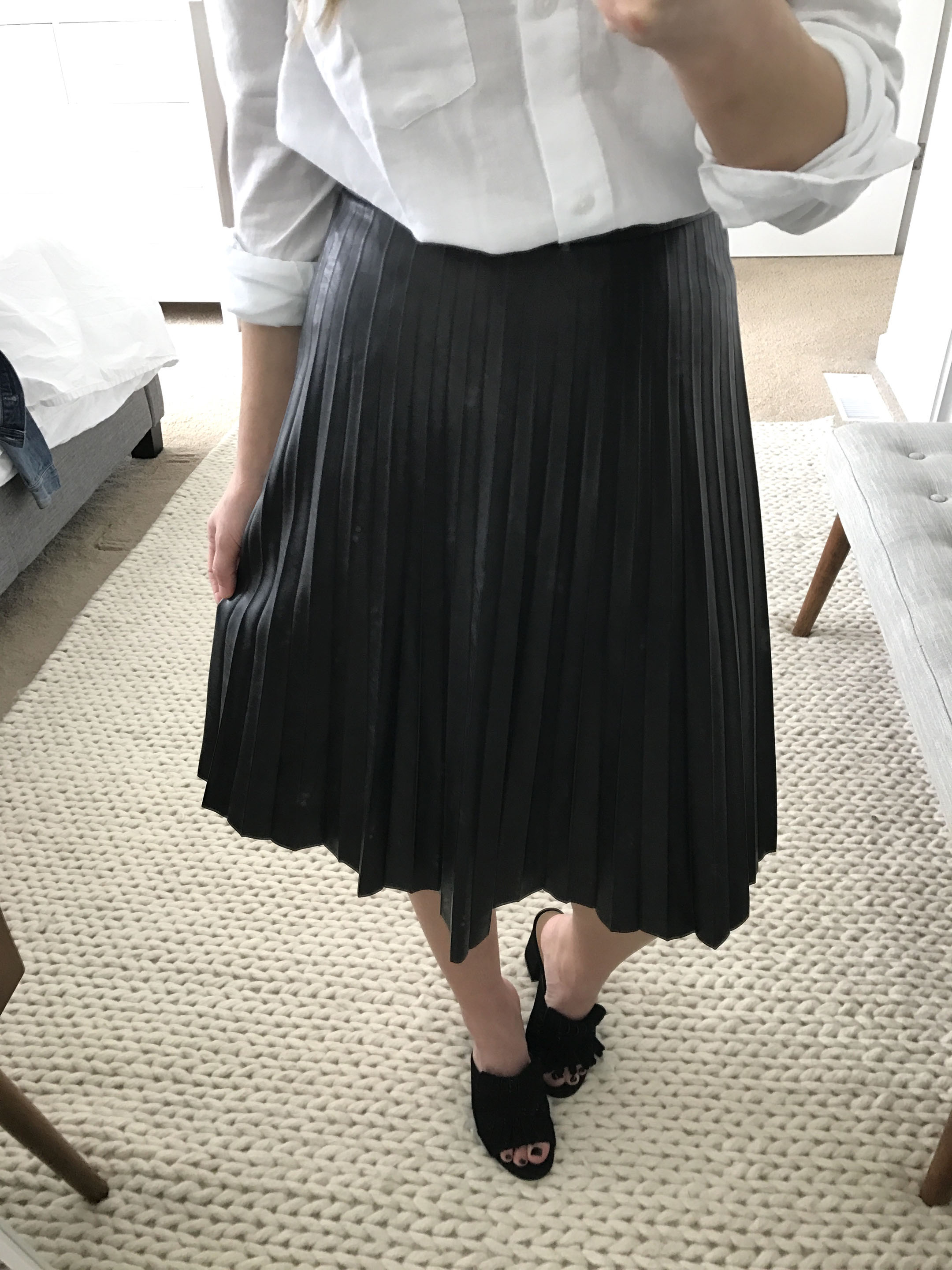 J.Crew Faux Leather Pleated midi skirt 3