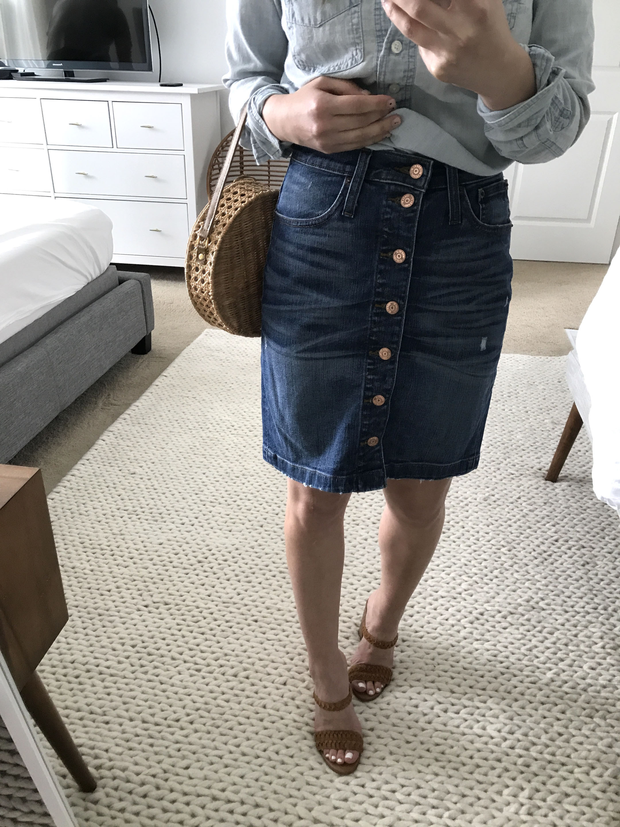 J.Crew denim pencil skirt 1