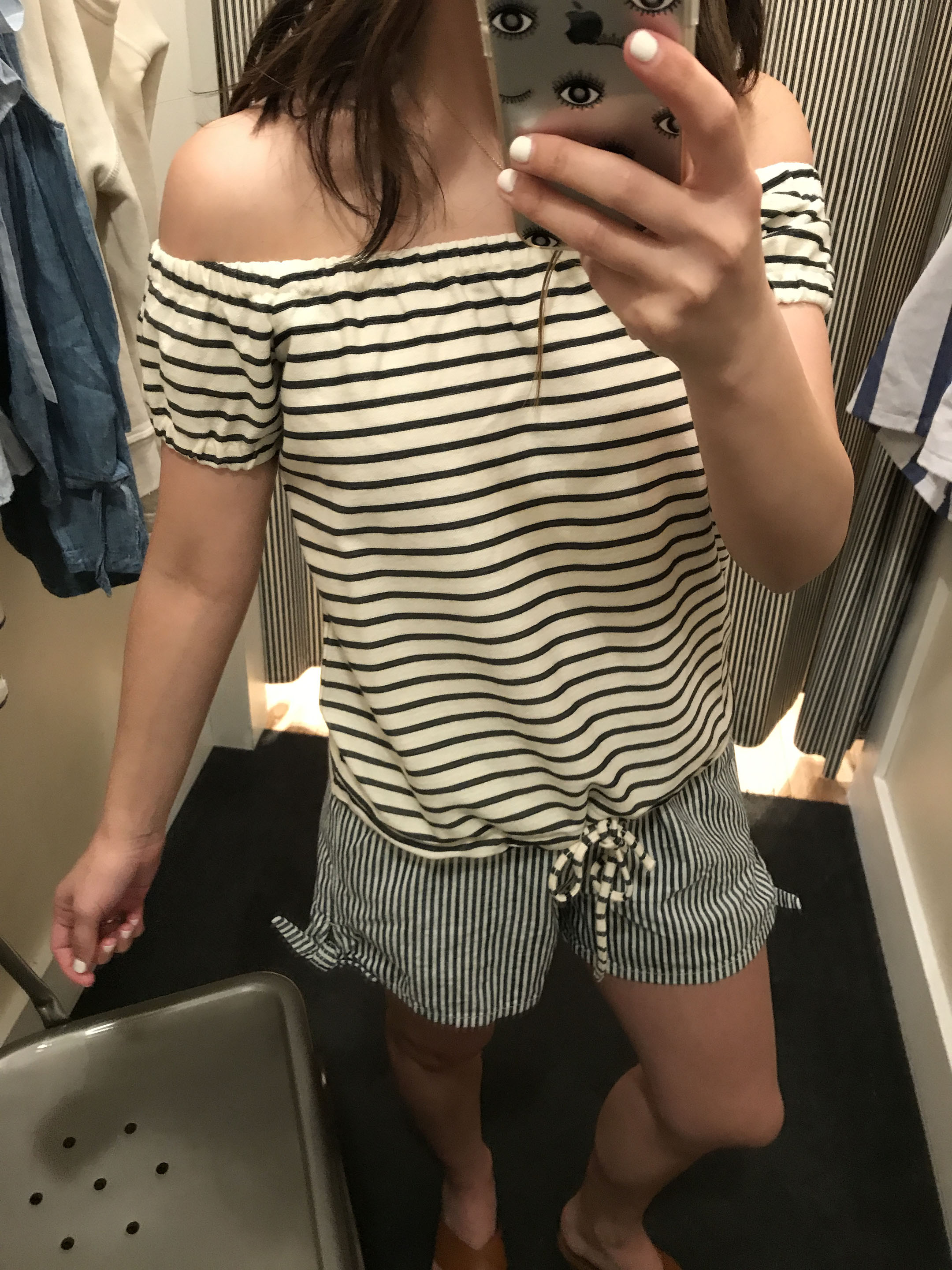 Madewell striped off the shoulder top 1
