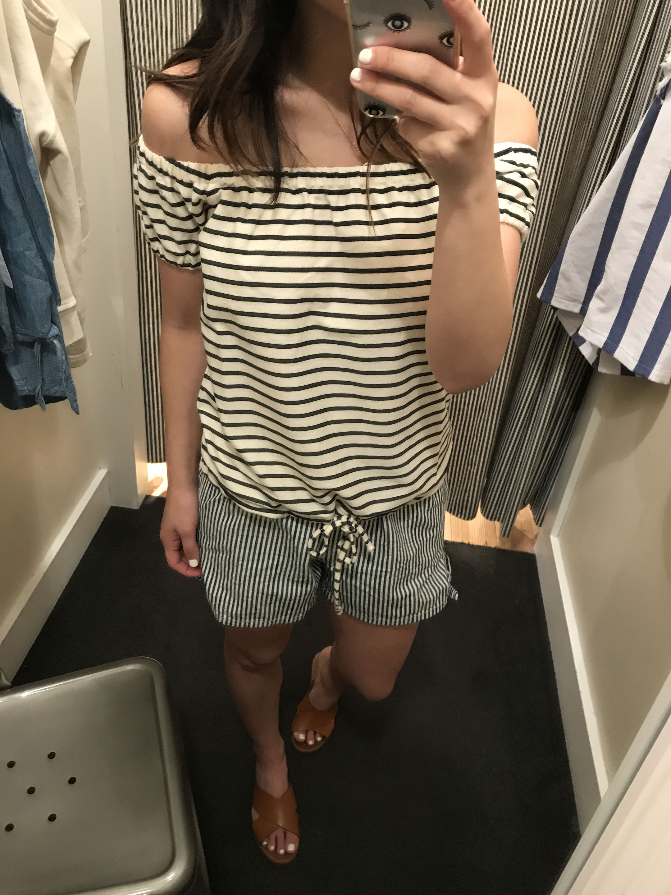 Madewell striped off the shoulder top 2