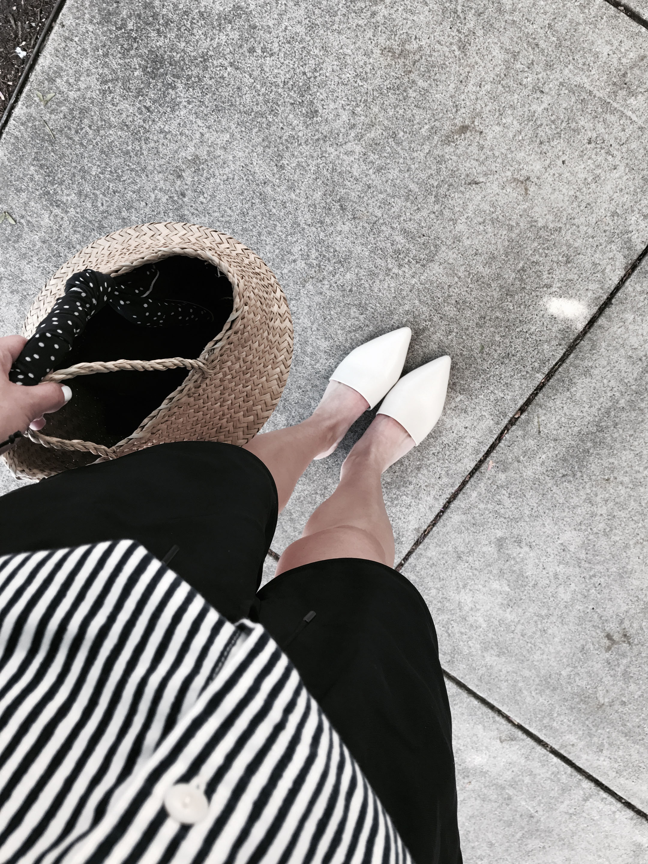 Everlane white mules