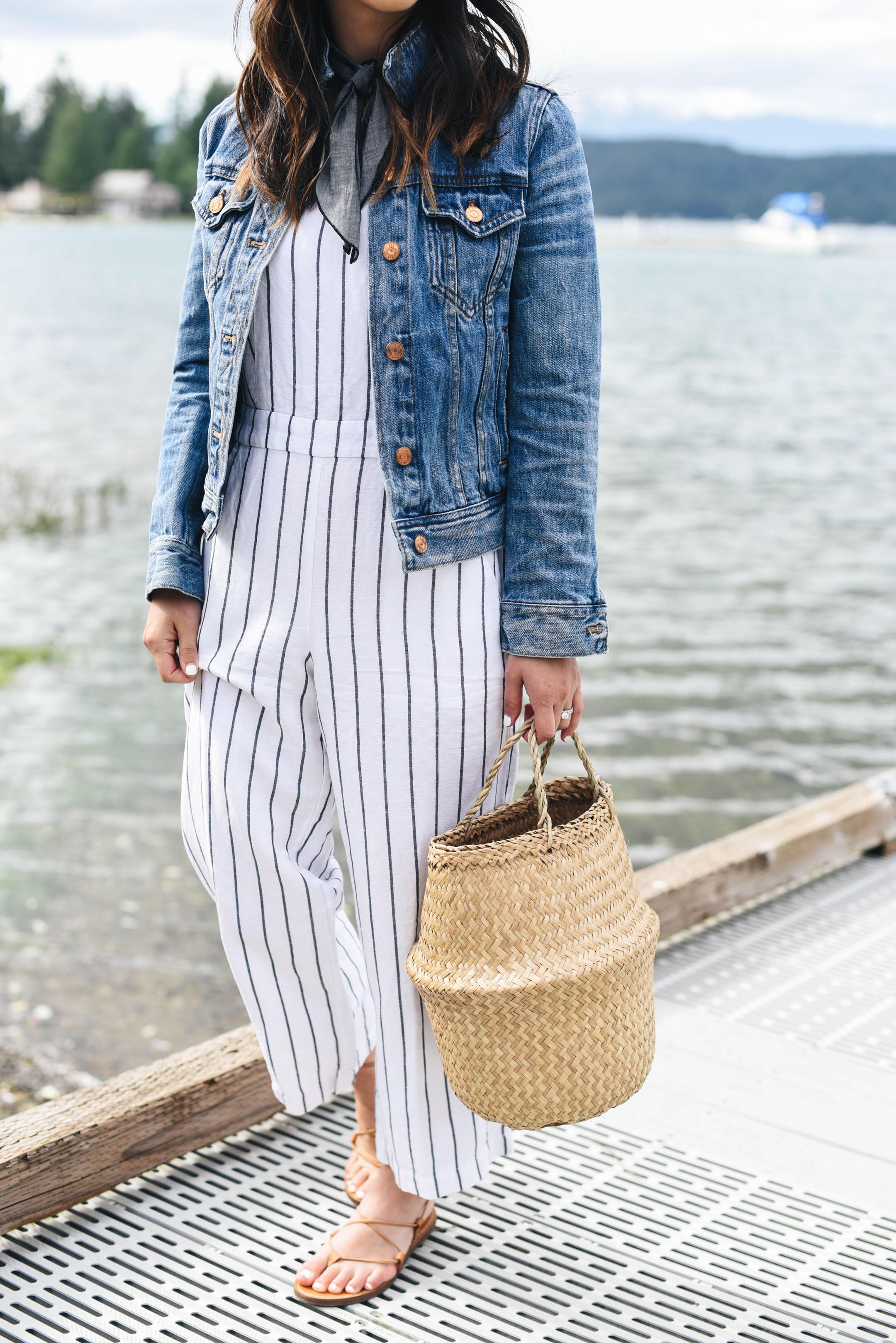Loft striped jumpsuit