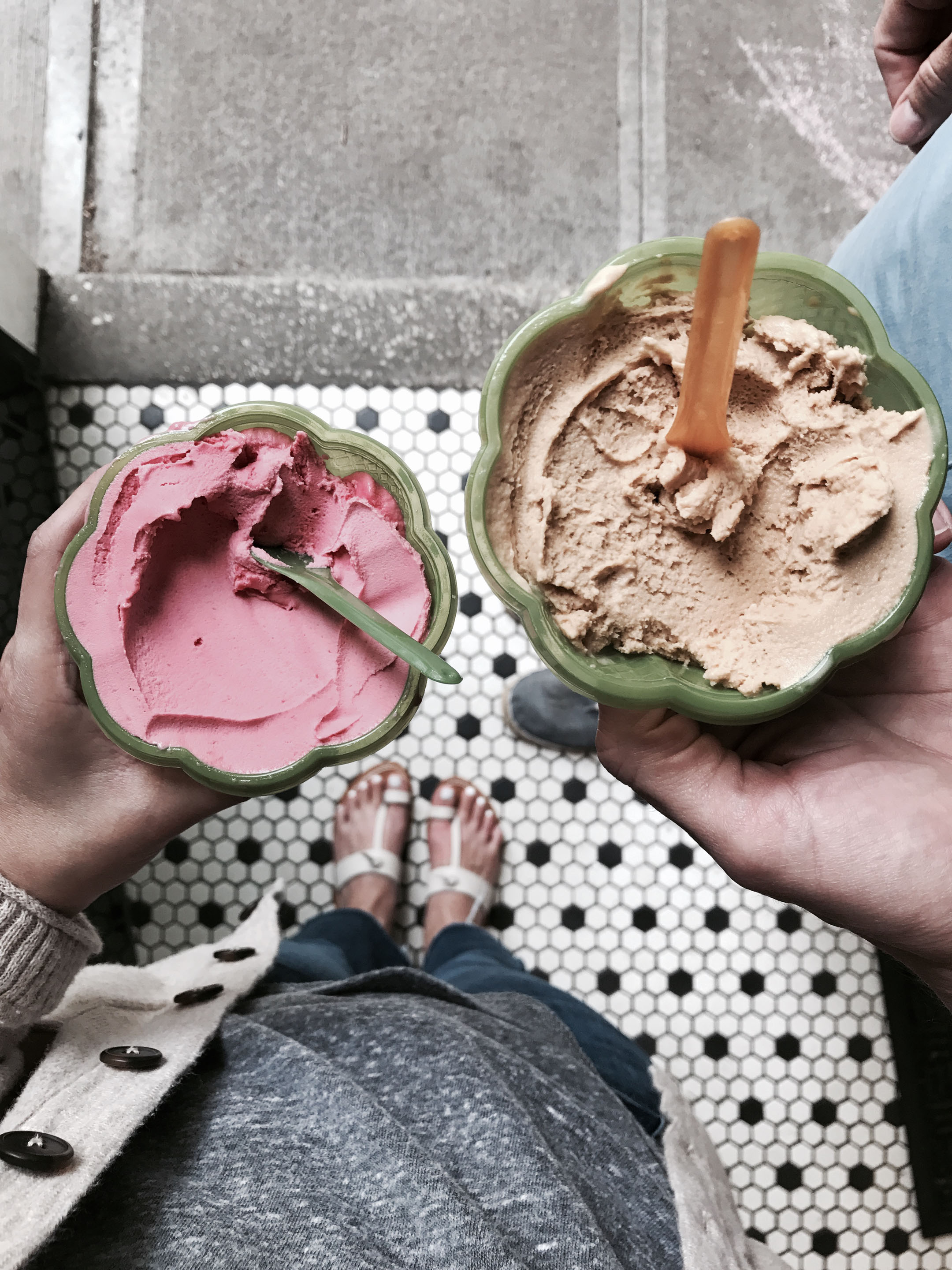 Rasberry sorbet and salted caramel gelato
