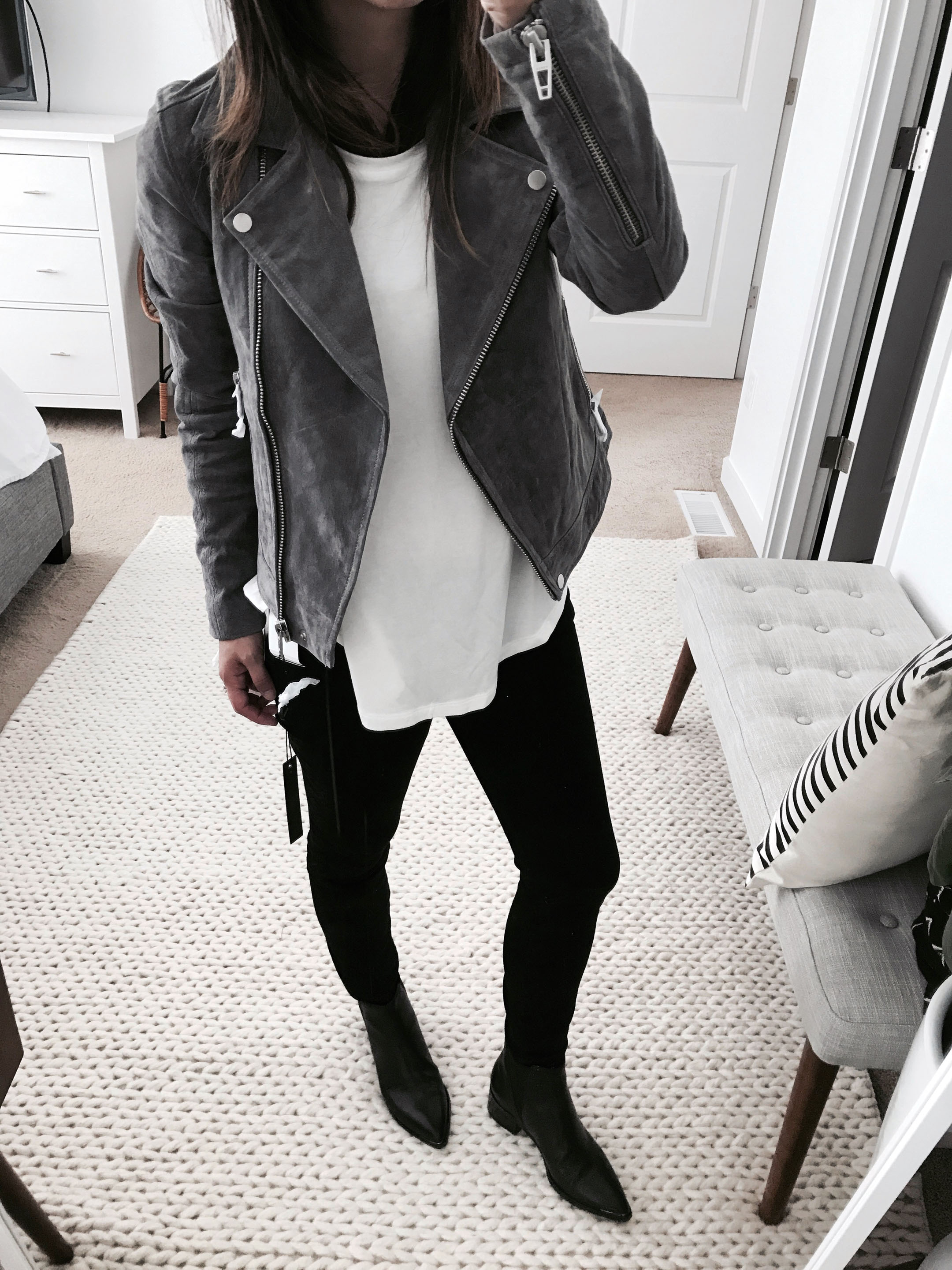 Blank NYC suede moto jacket in gray