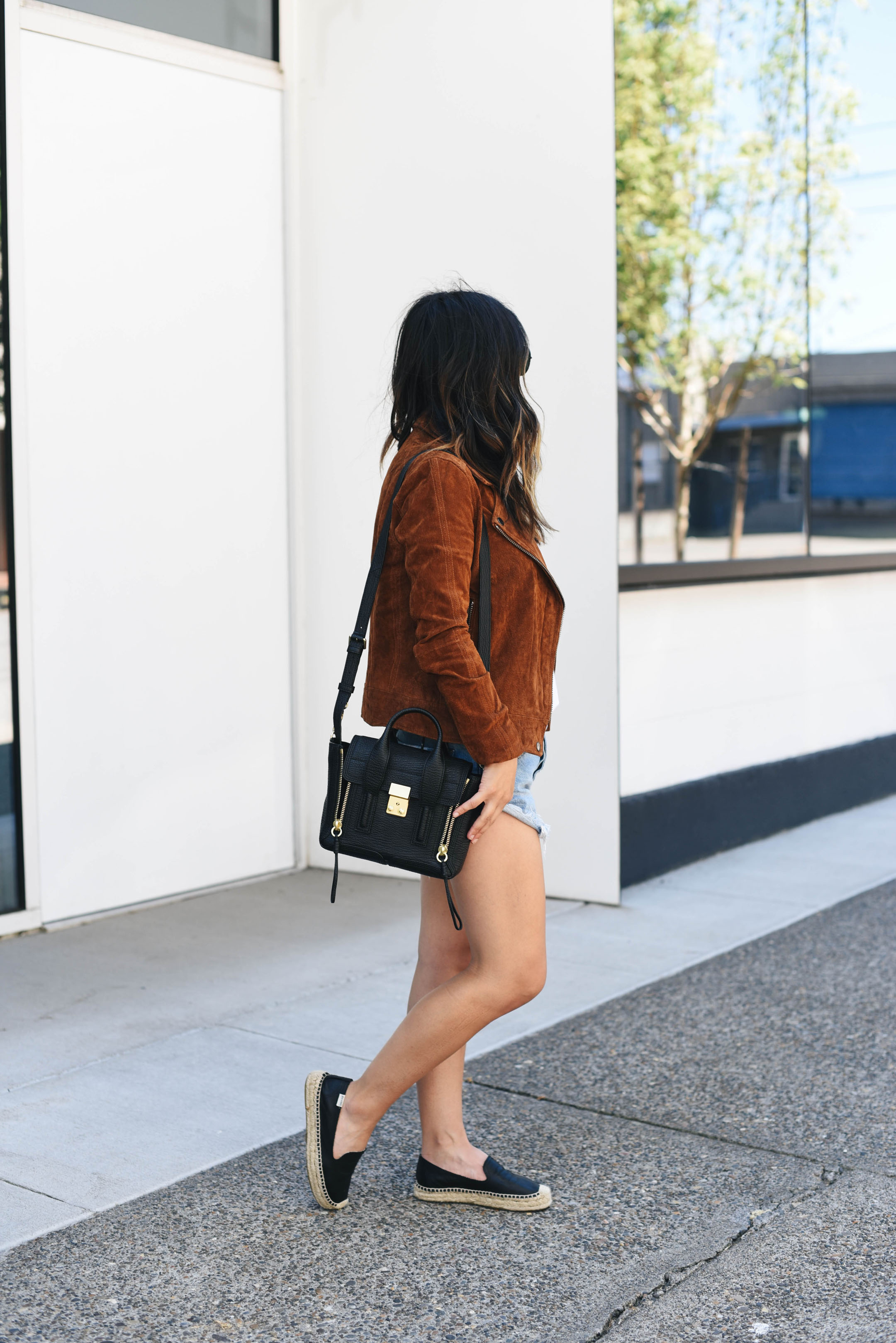 Blank nyc suede moto jacket styled