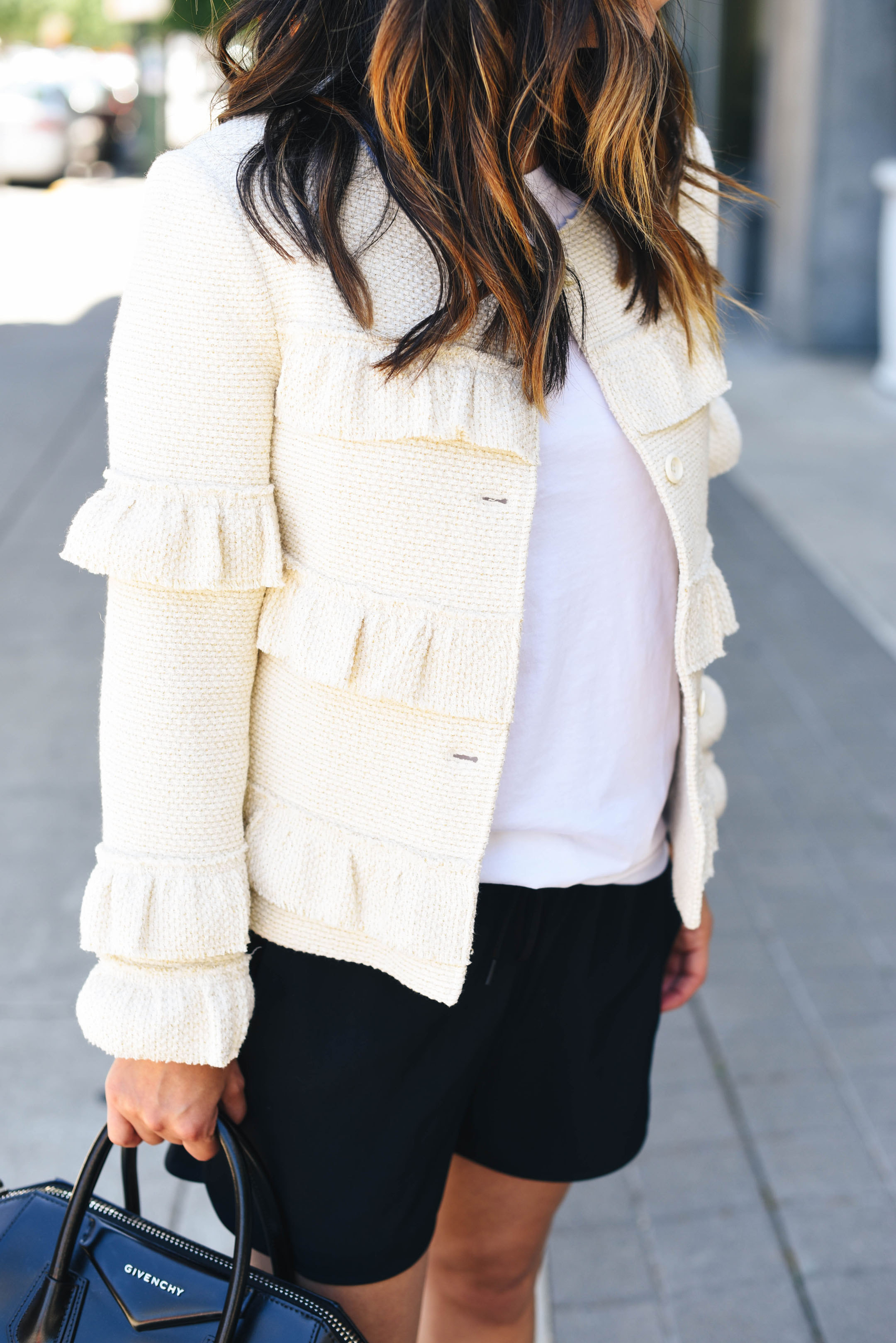 Cream ruffle jacket club monaco