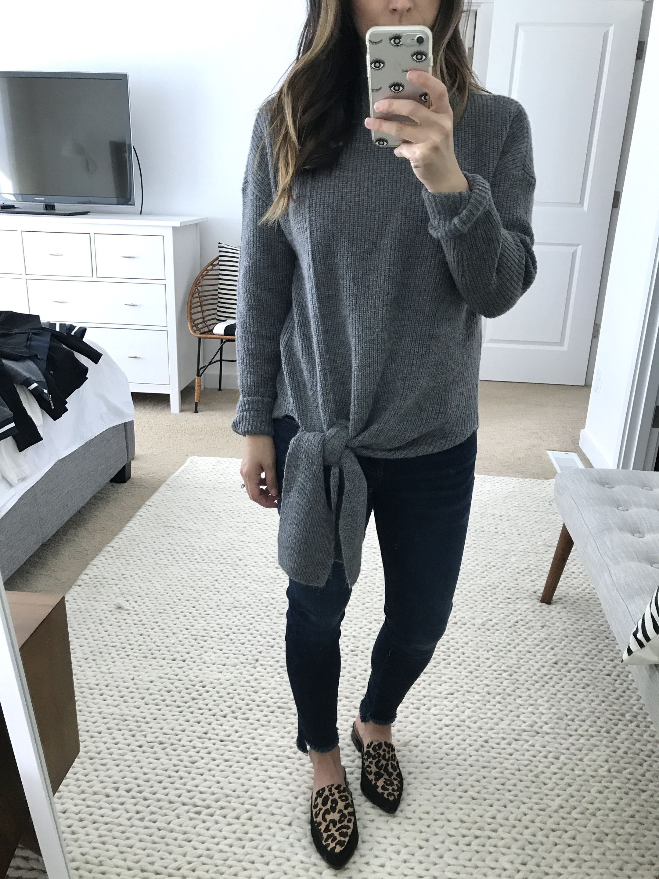Haloge tie front sweater in gray