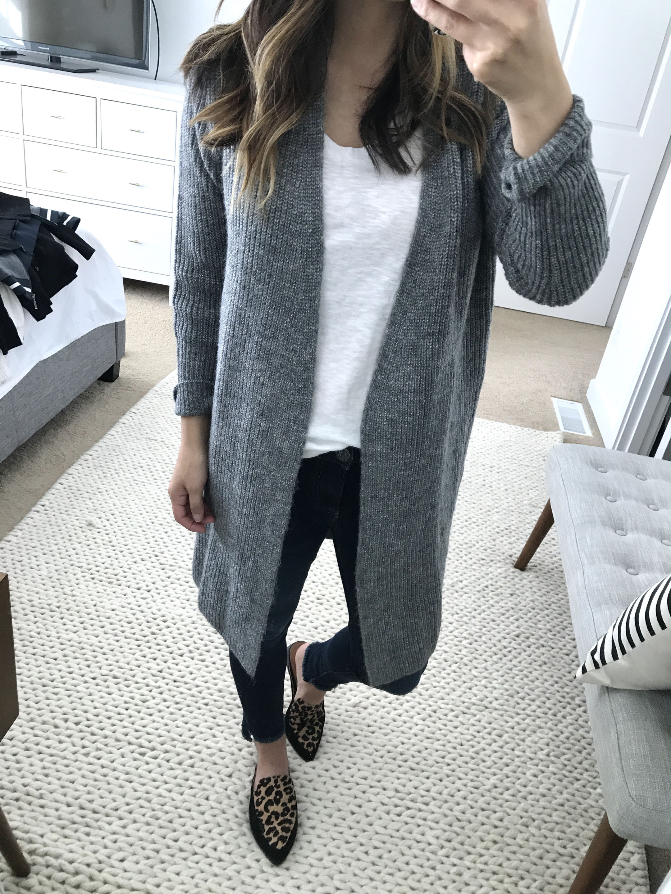 Halogen ribbed cardigan in gray