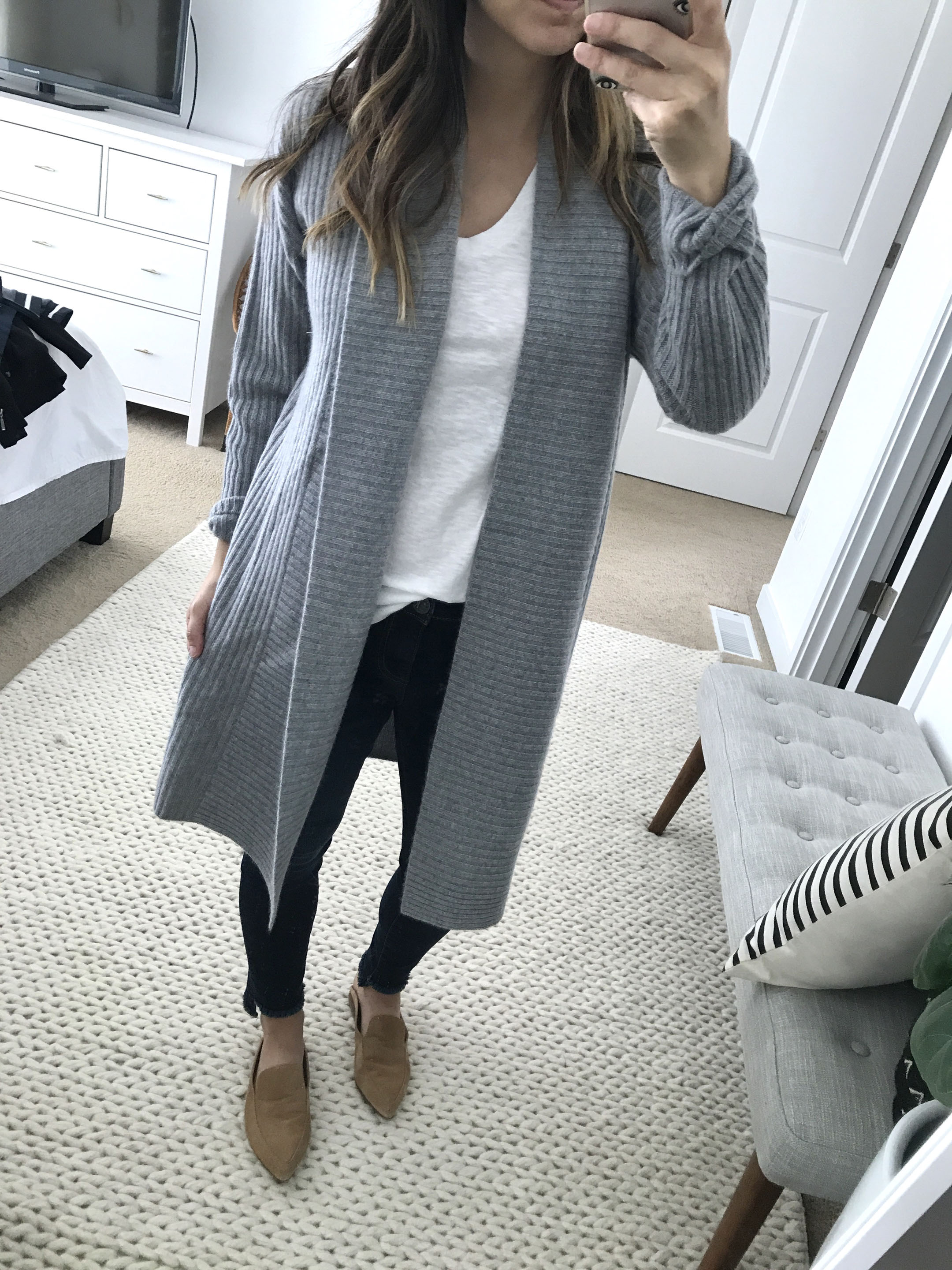 Halogen ribbed cashmere cardigan