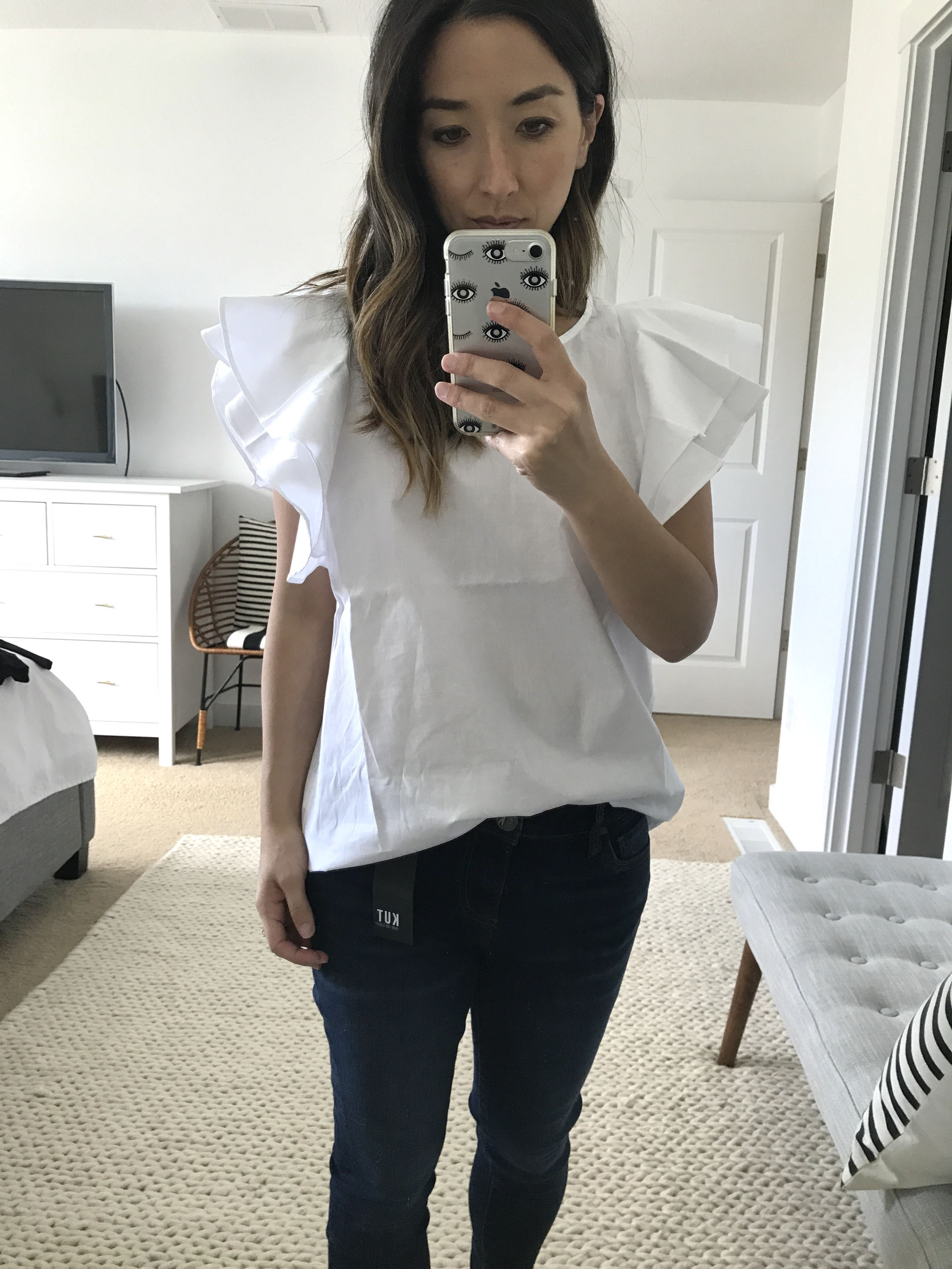 Pleione ruffle sleeve blouse in white