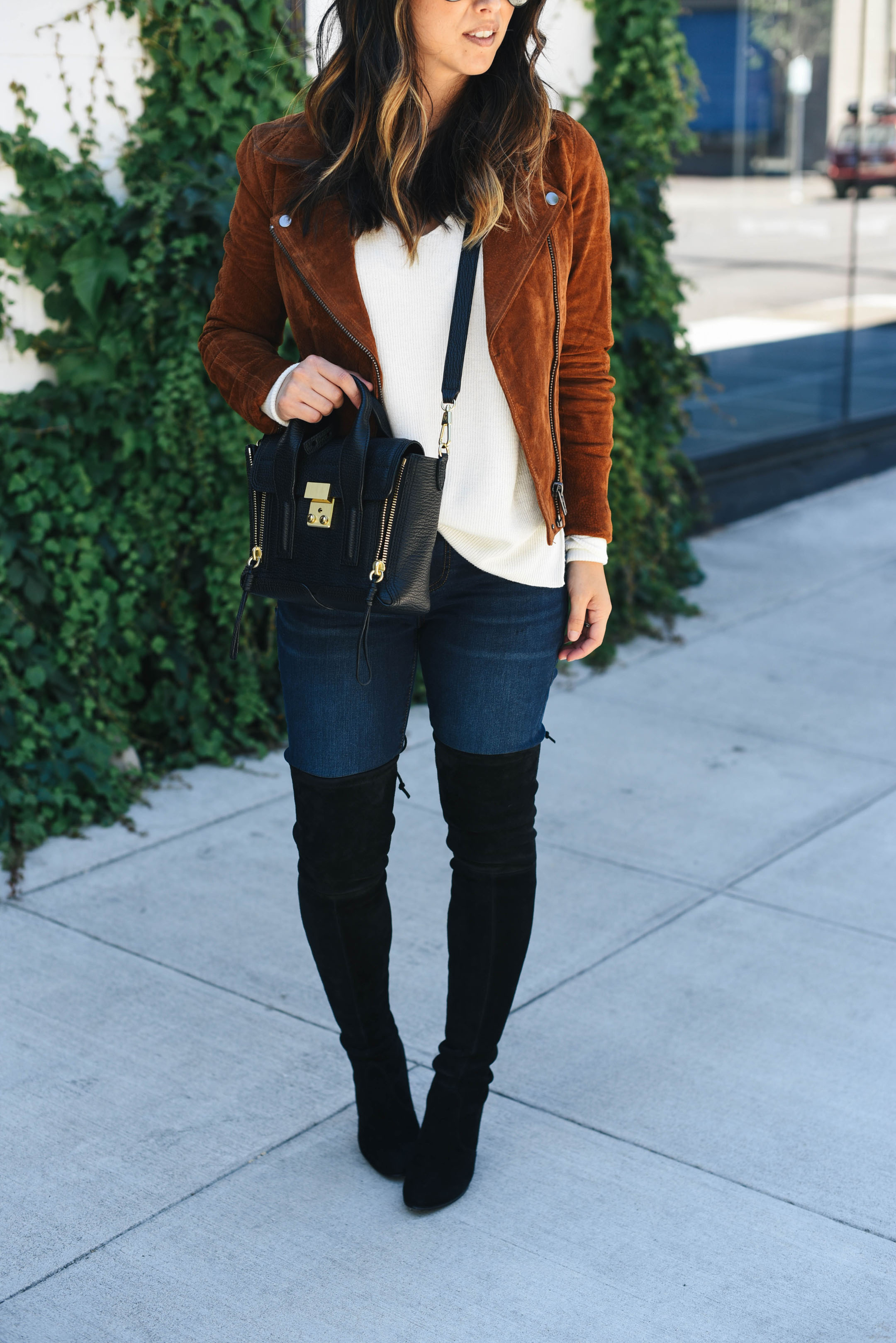 over the knee boots styled on petite