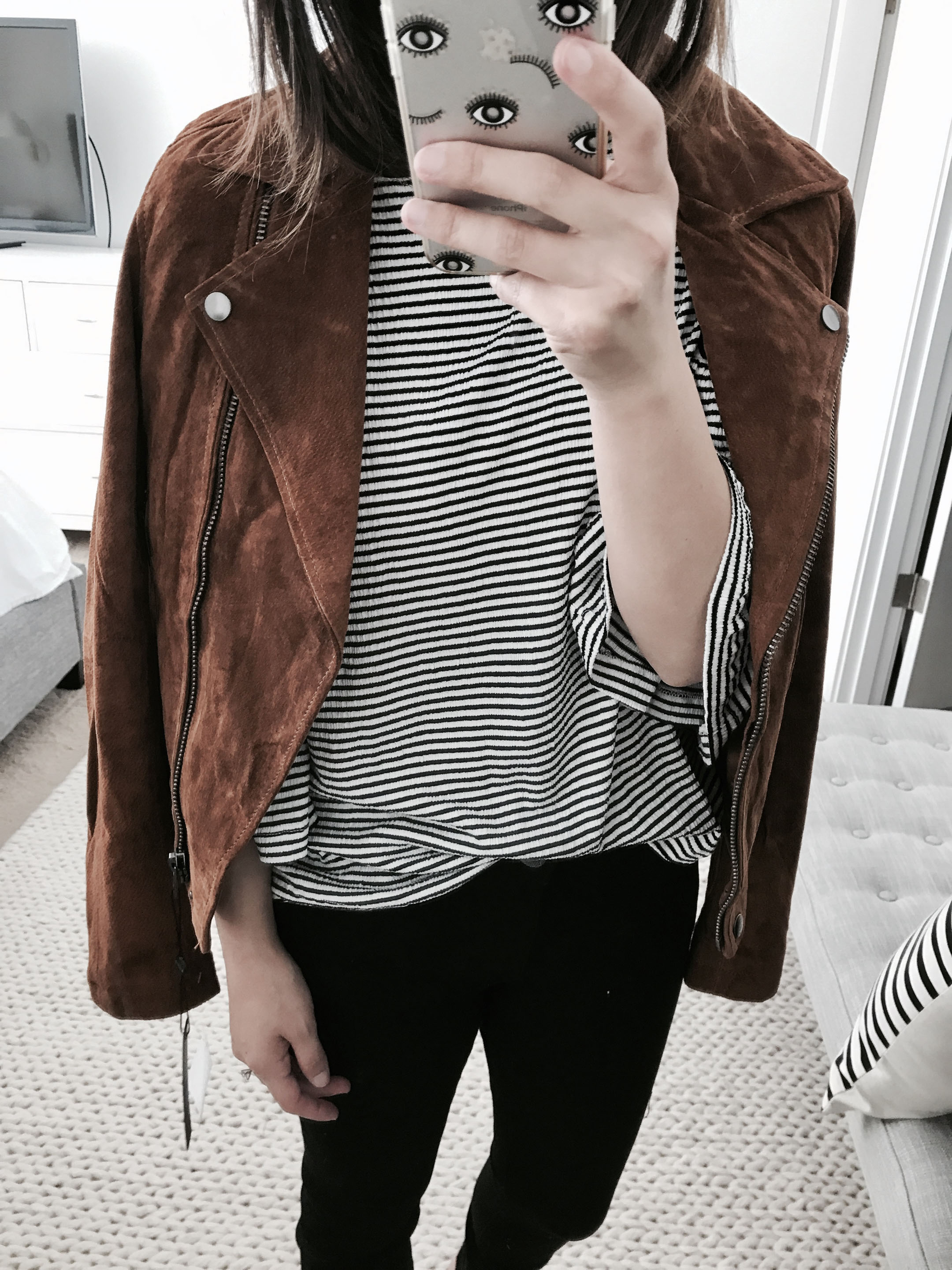 Blank NYC suede moto jacket in spice