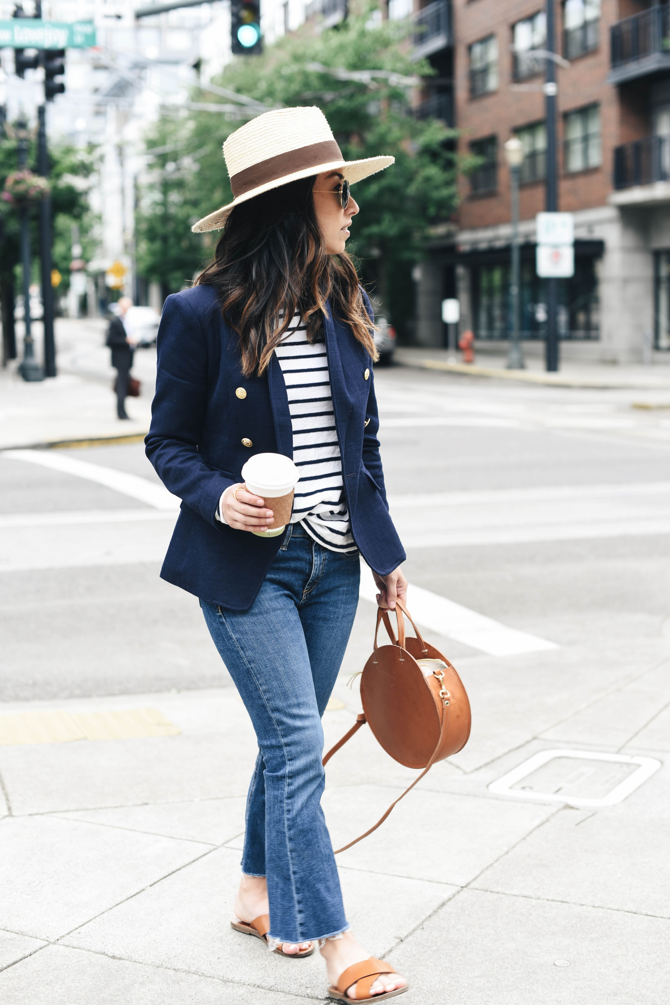 Blazer and cropped flare jeans