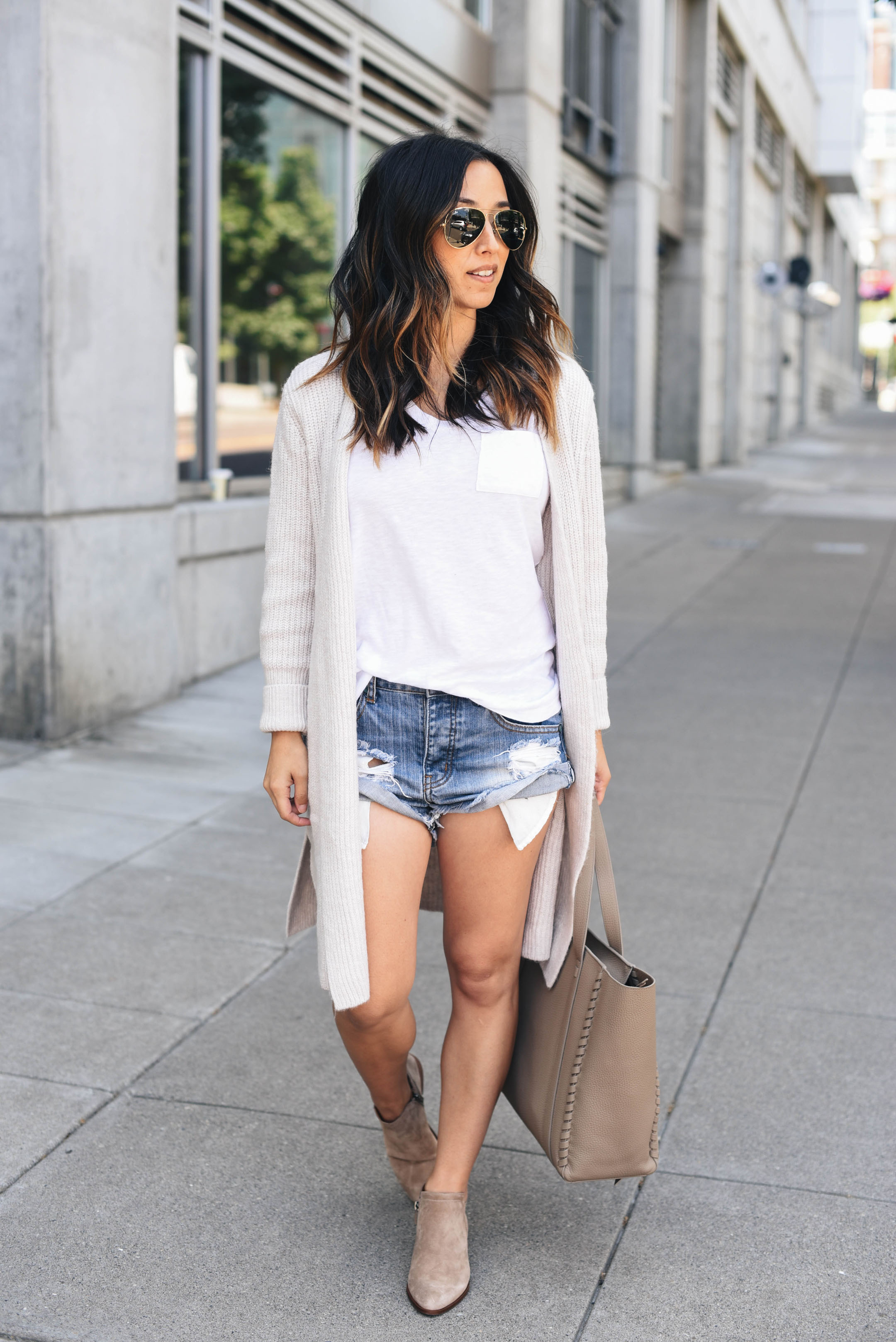 Cardigan, shorts, and booties