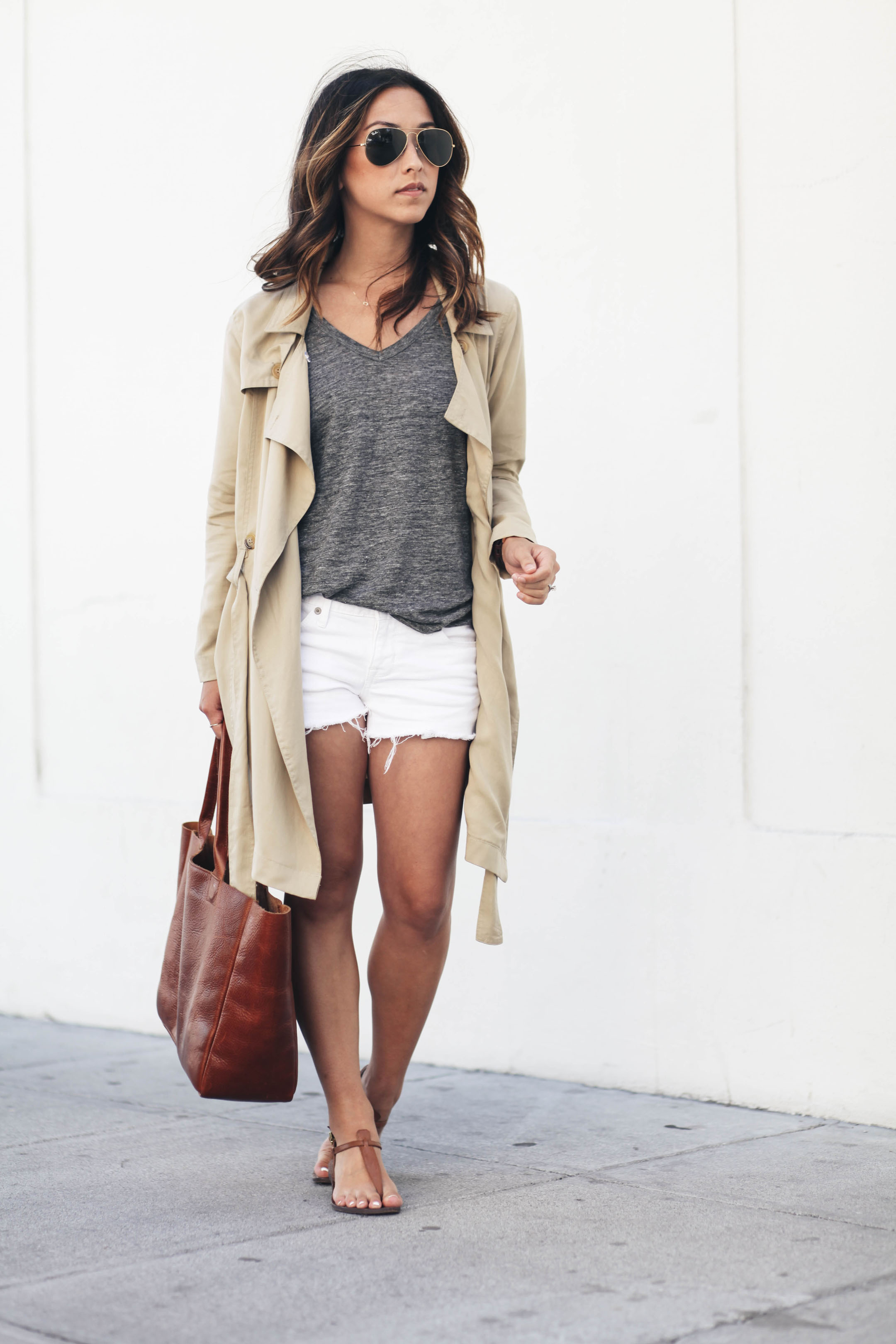 Drape front trench with shorts