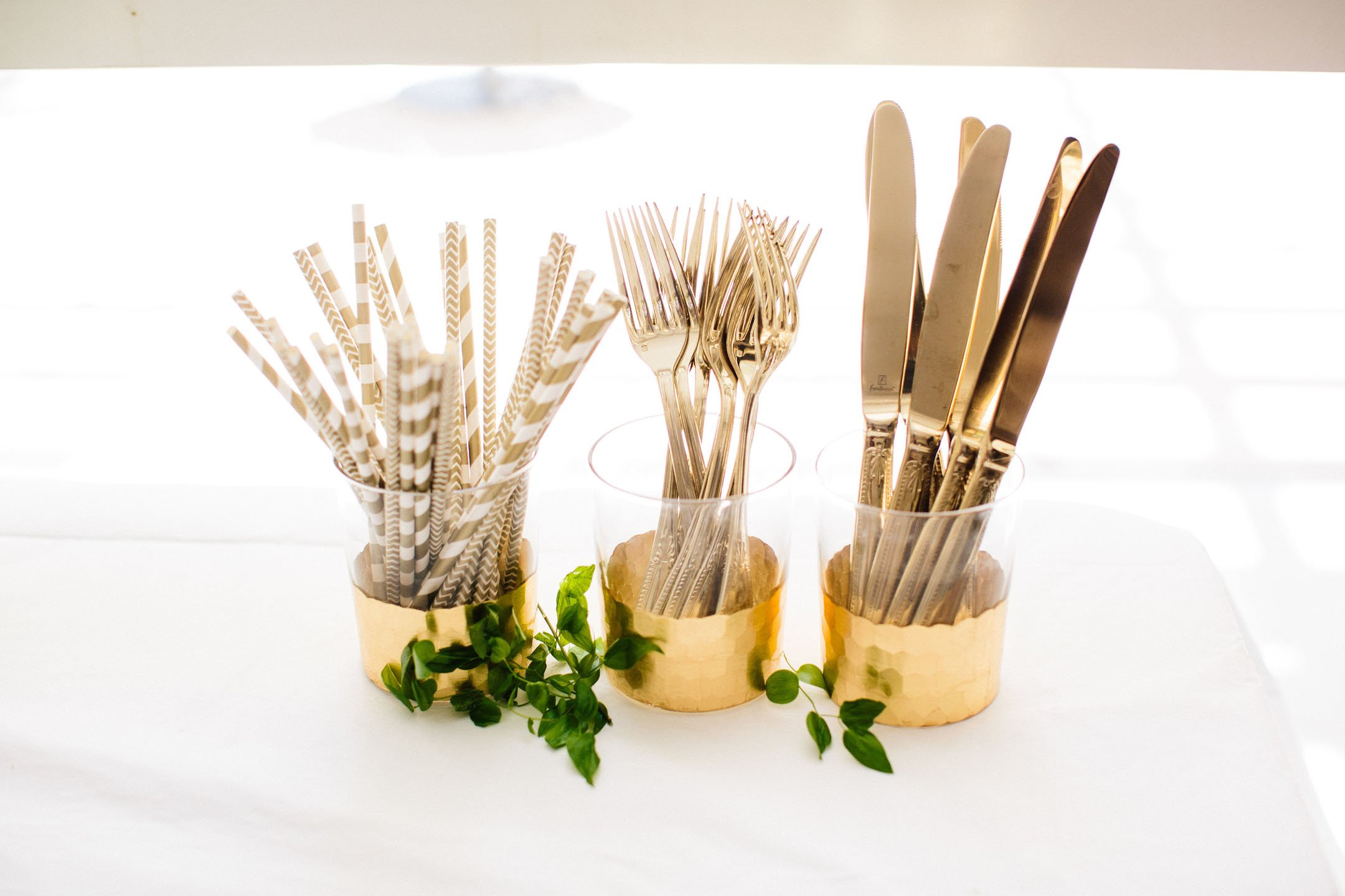 Gold flatware bridal shower